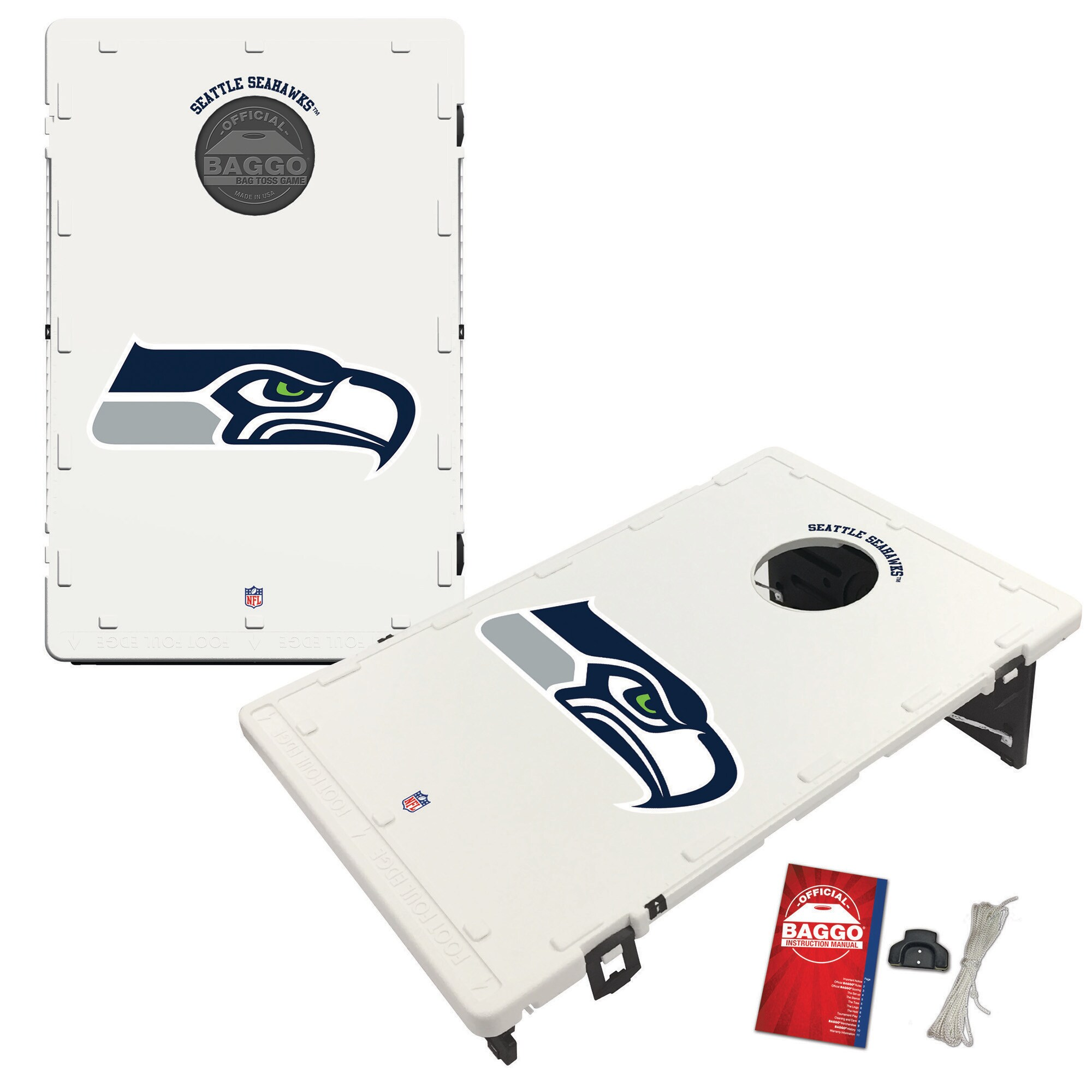 Seattle Seahawks 2' x 3' Classic Design BAGGO Cornhole Board Tailgate Toss Set