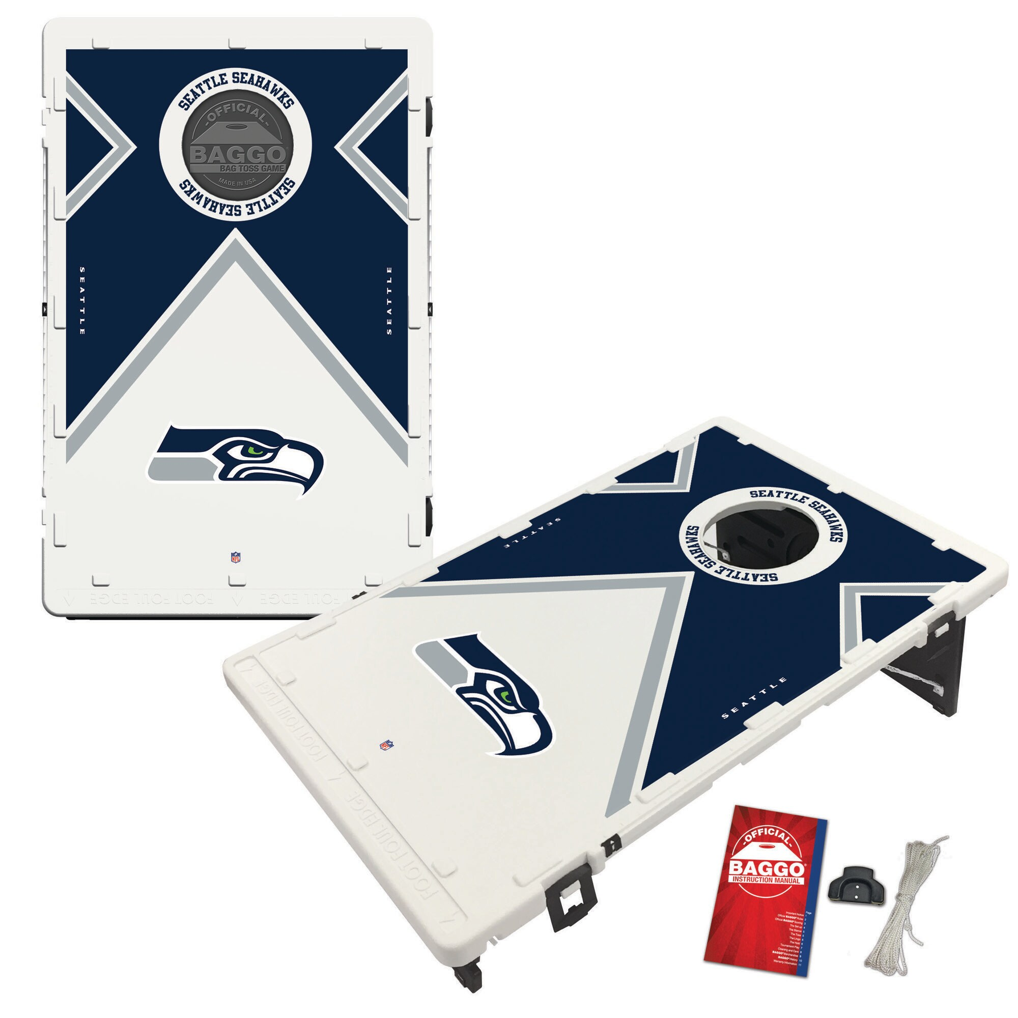 Seattle Seahawks 2' x 3' BAGGO Vintage Cornhole Board Tailgate Toss Set