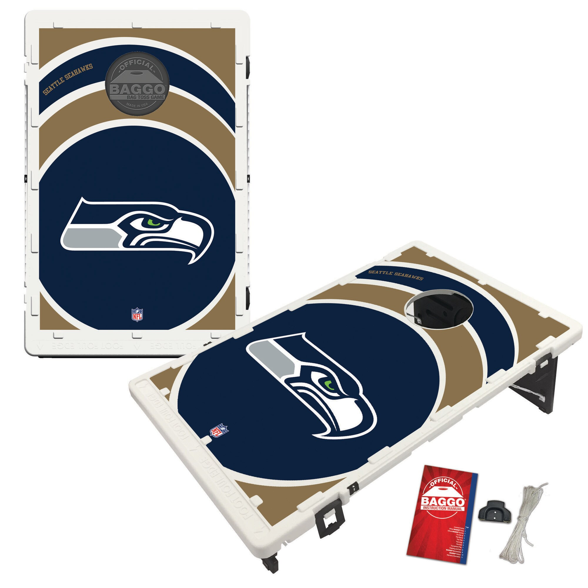 Seattle Seahawks 2' x 3' BAGGO Vortex Cornhole Board Tailgate Toss Set