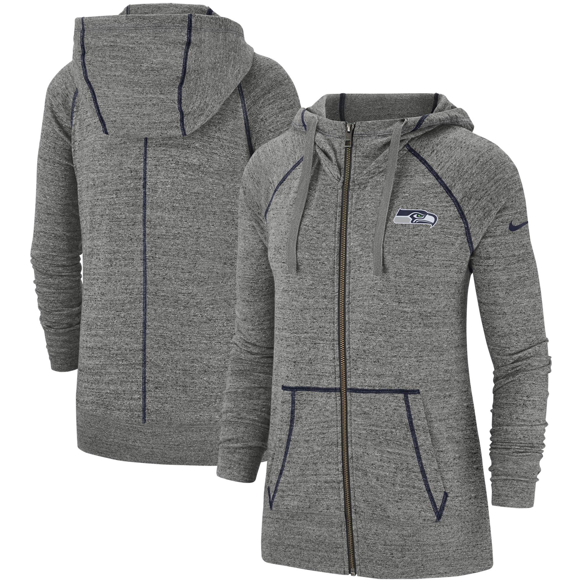 Seattle Seahawks Nike Women's Gym Vintage Raglan Full-Zip Hoodie - Heathered Gray