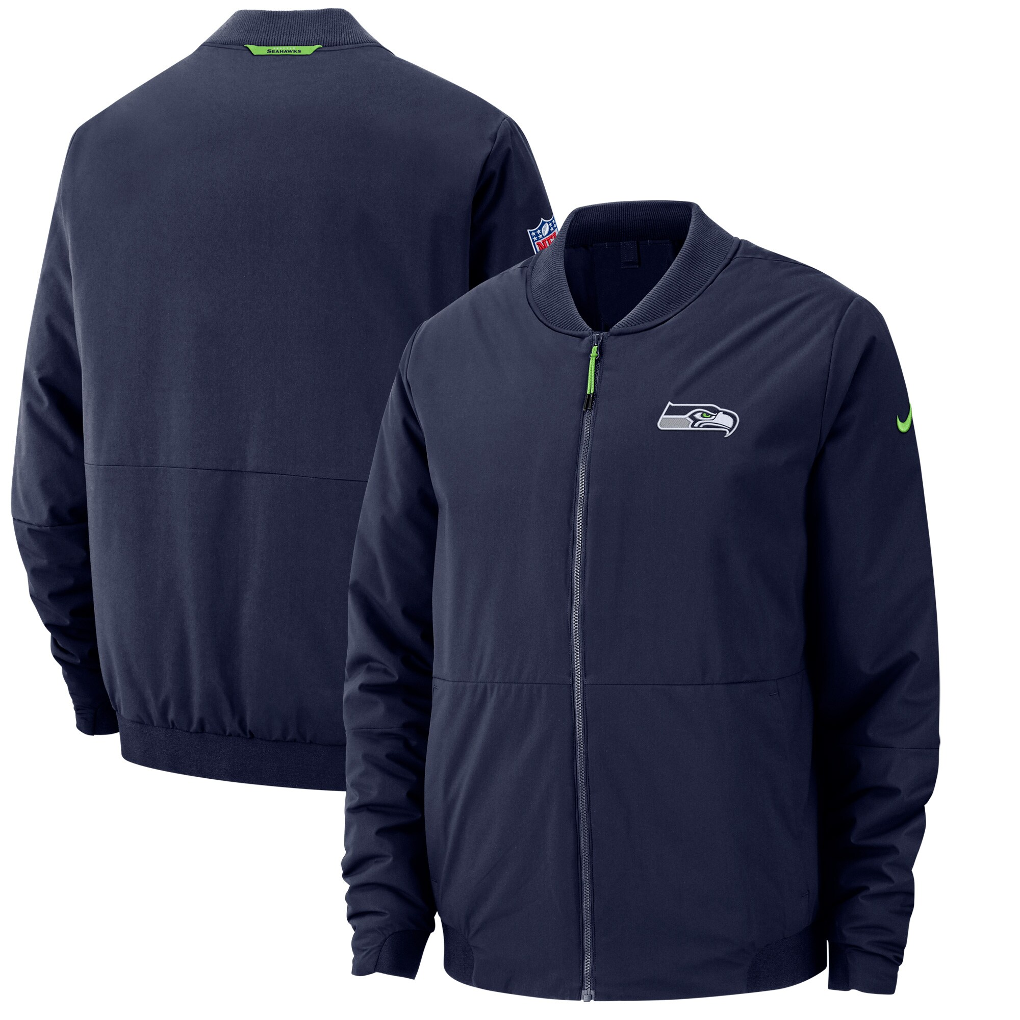 Seattle Seahawks Nike Sideline Bomber Full-Zip Jacket - College Navy