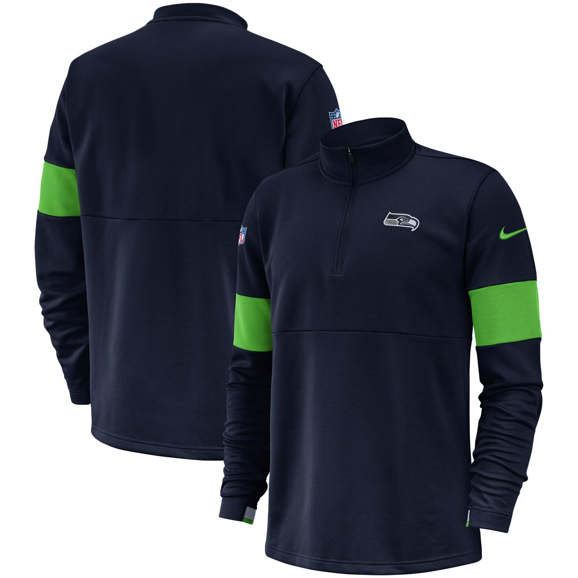 Seattle Seahawks Nike Sideline Performance Half-Zip Pullover Jacket - College Navy