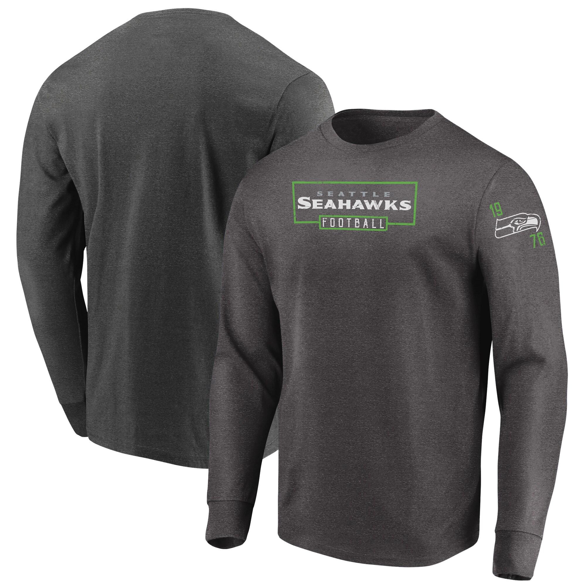 Seattle Seahawks Majestic Big & Tall Kick Return Long Sleeve T-Shirt - Heathered Charcoal