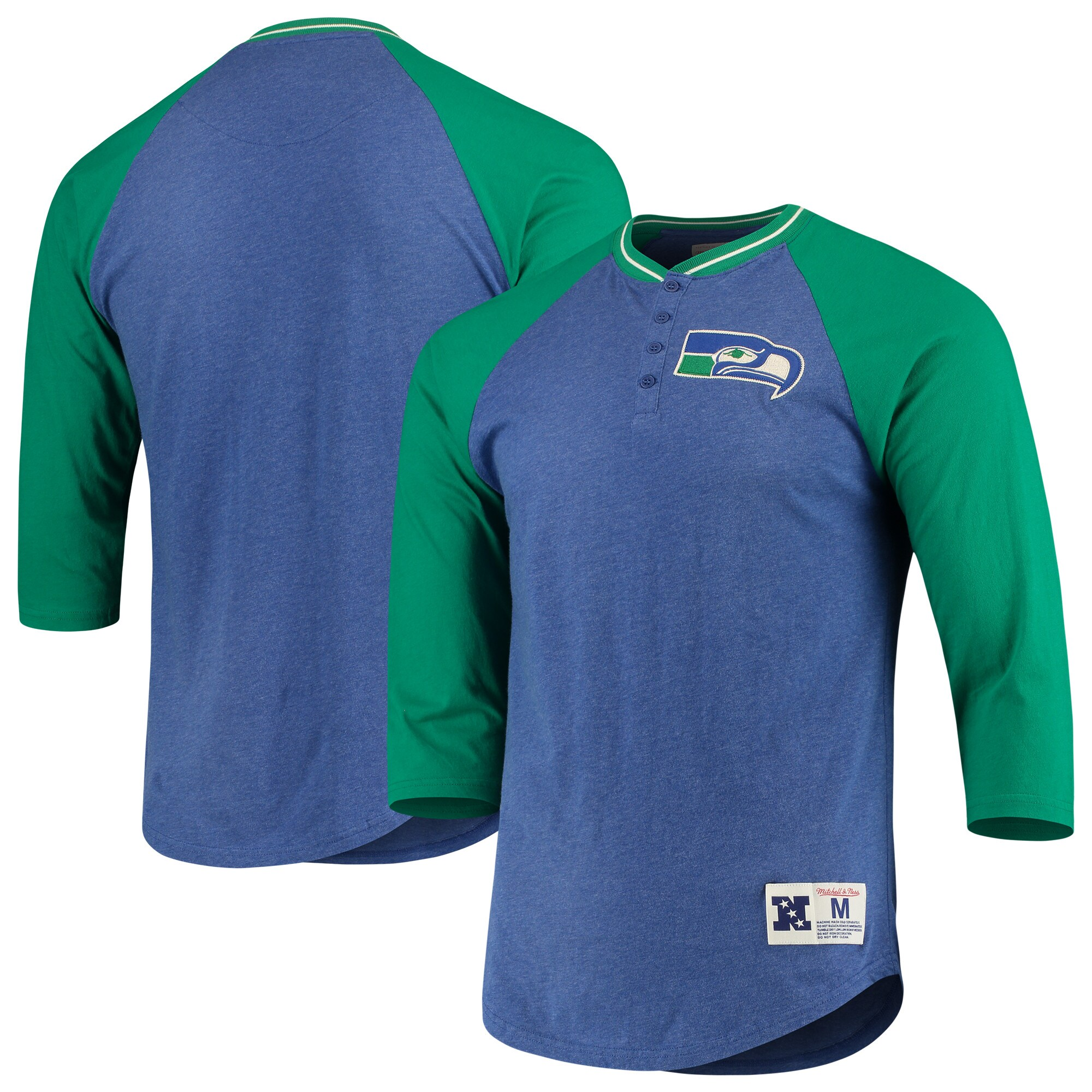 Seattle Seahawks Mitchell & Ness 3/4-Sleeve Raglan Henley T-Shirt - Royal/Green