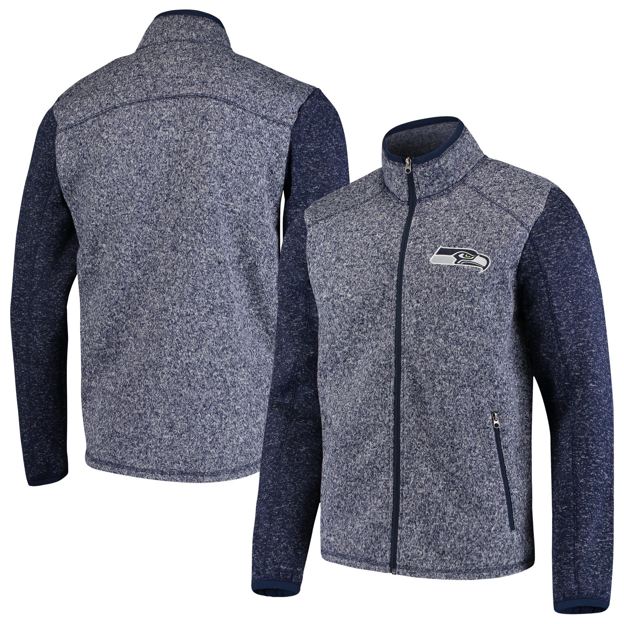 Seattle Seahawks G-III Sports by Carl Banks Alpine Zone Sweater Fleece Full-Zip Jacket - Heathered College Navy
