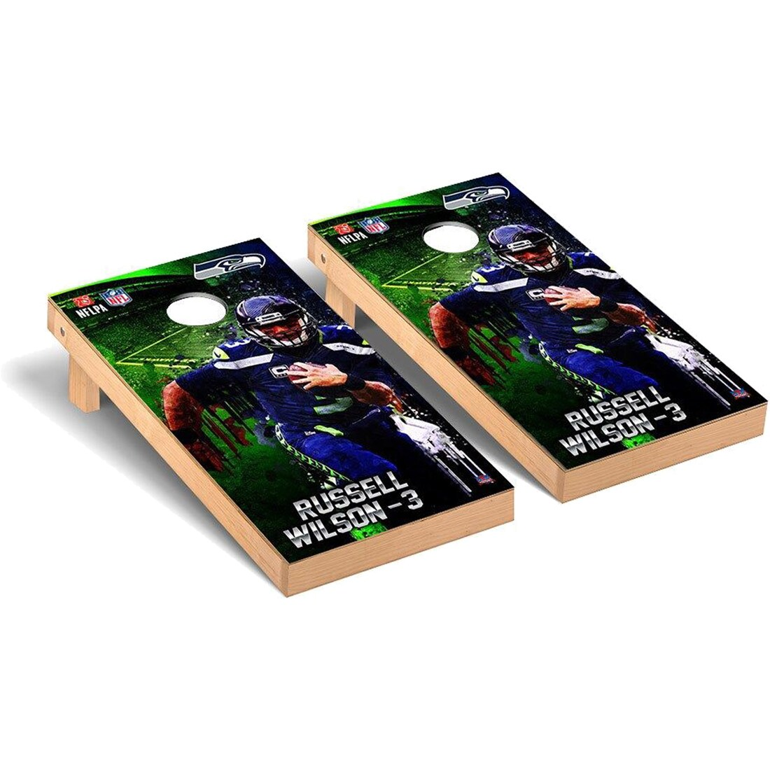 Russell Wilson Seattle Seahawks 2' x 4' NFLPA Player Cornhole Board Tailgate Toss Set