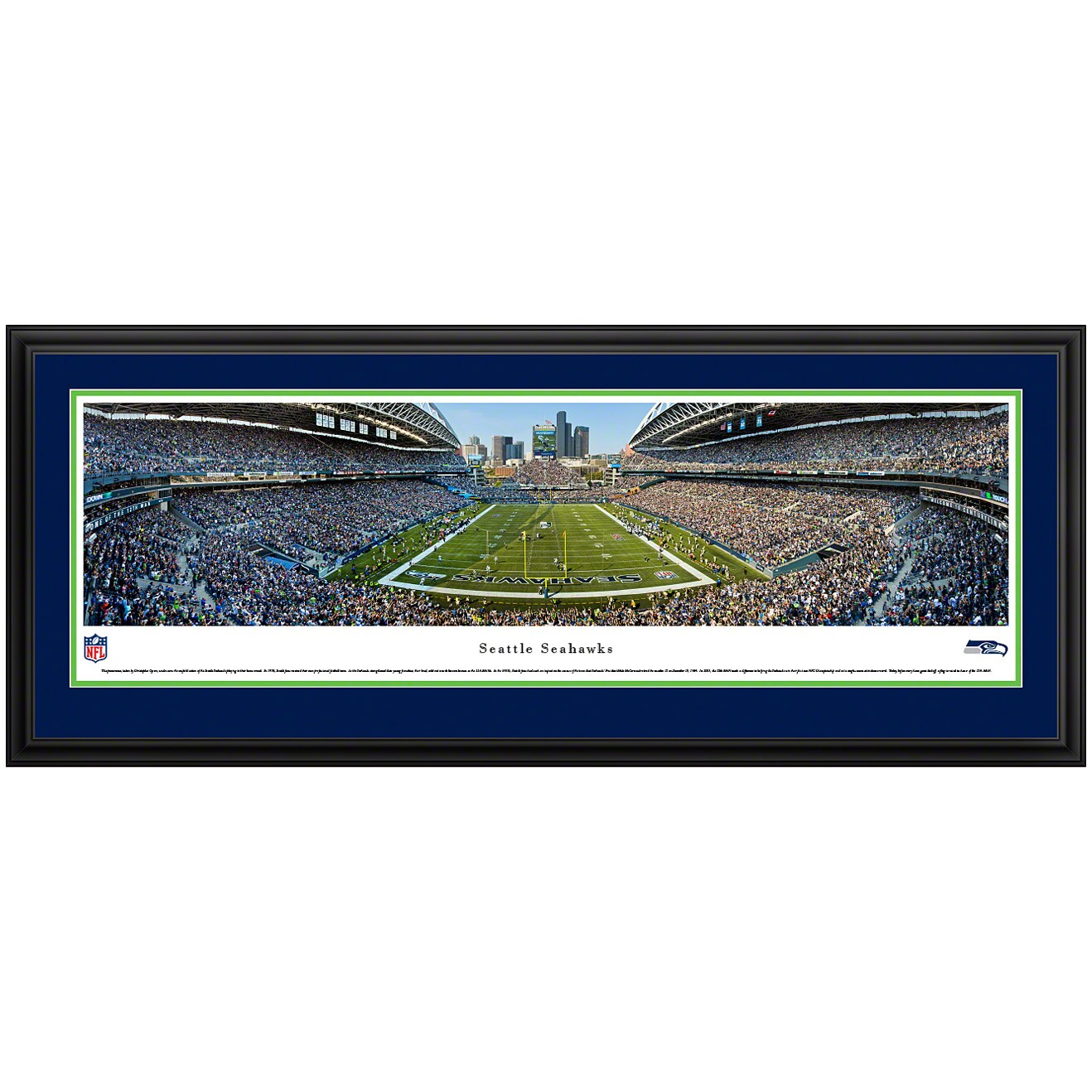 "Seattle Seahawks 44"" x 18"" Deluxe Frame Panoramic Photo"