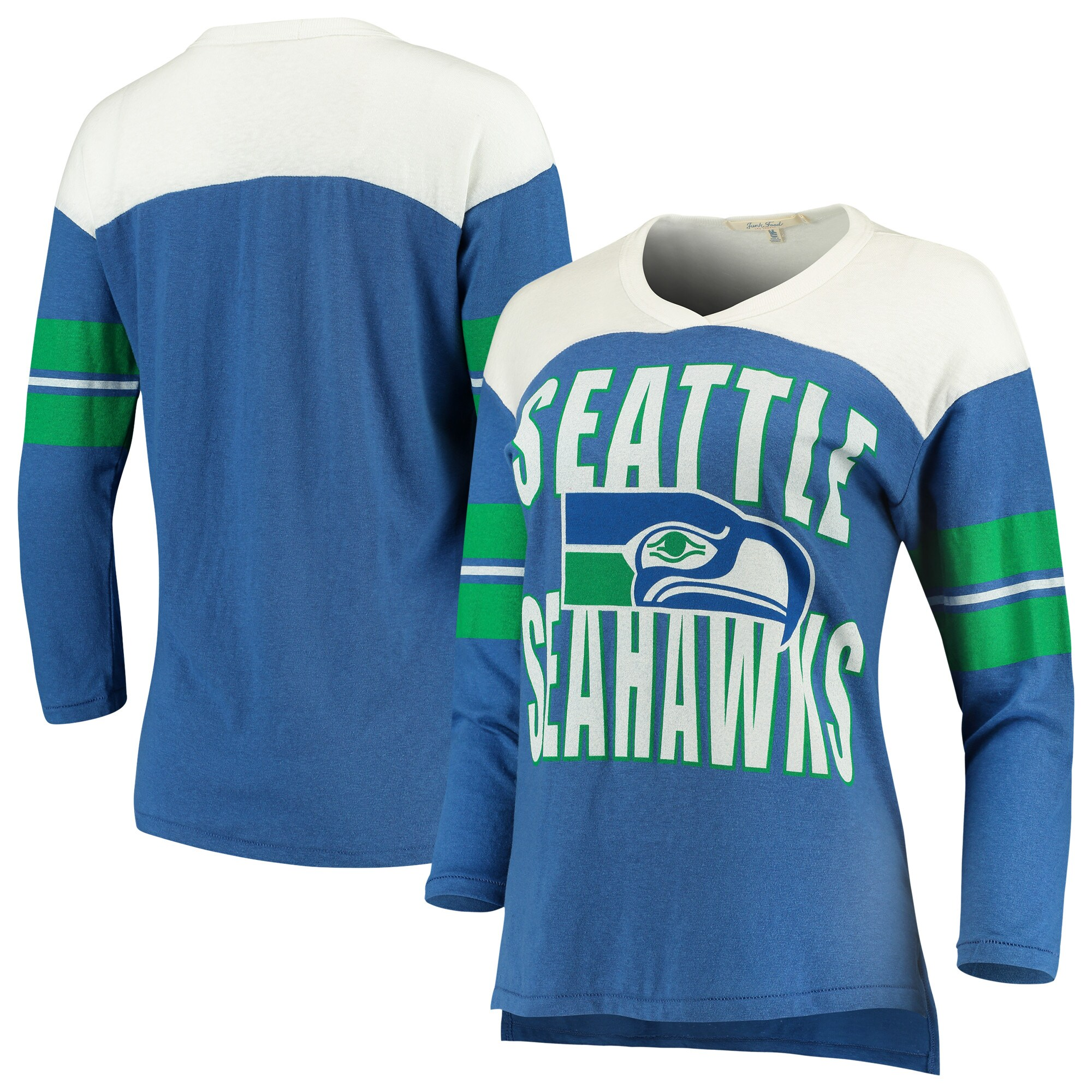 Seattle Seahawks Junk Food Women's Throwback Football Long Sleeve T-Shirt - Royal/White
