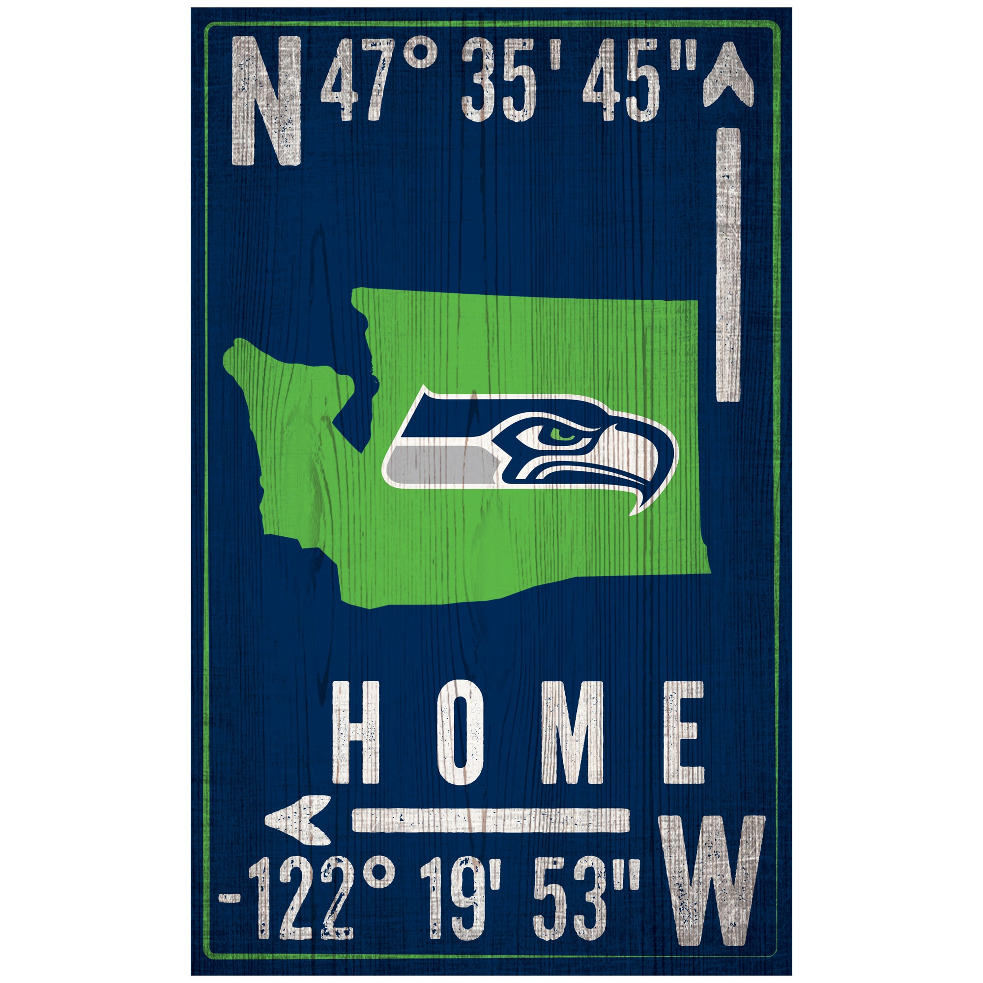 """Seattle Seahawks 11"""" x 19"""" Coordinate Sign"""