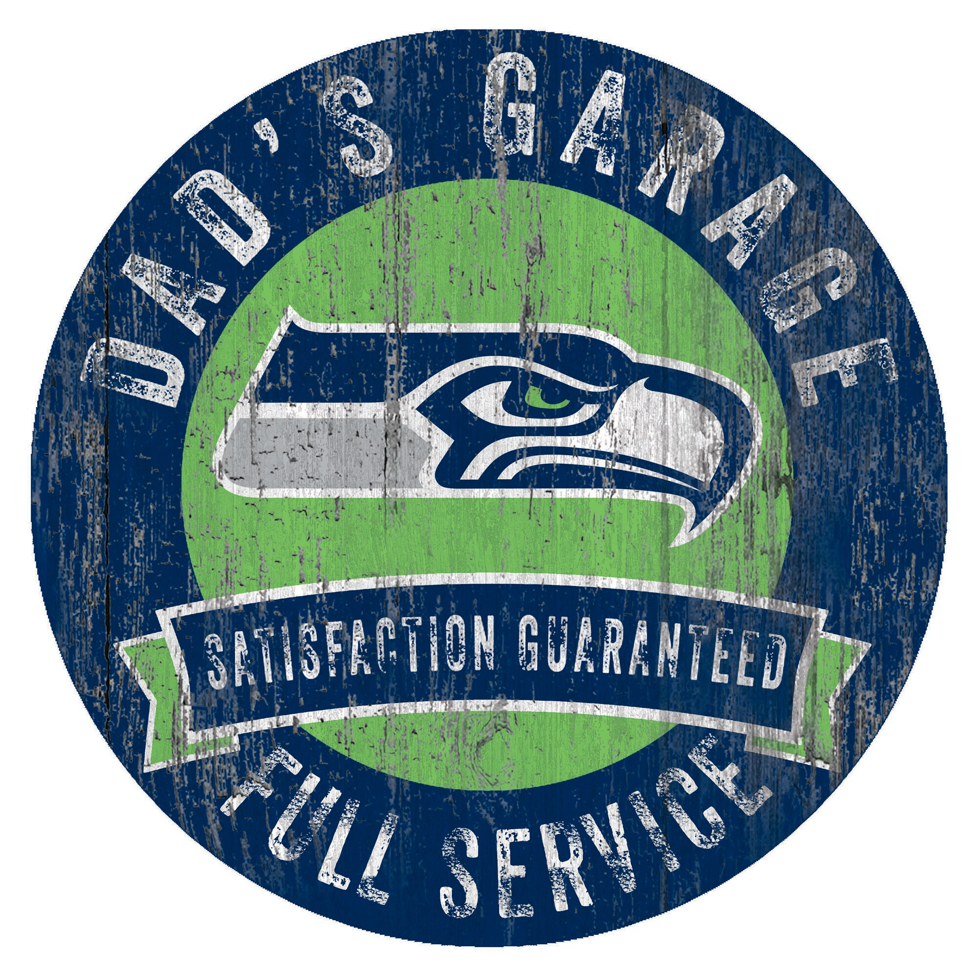 "Seattle Seahawks 12"" x 12"" Dad's Garage Sign"