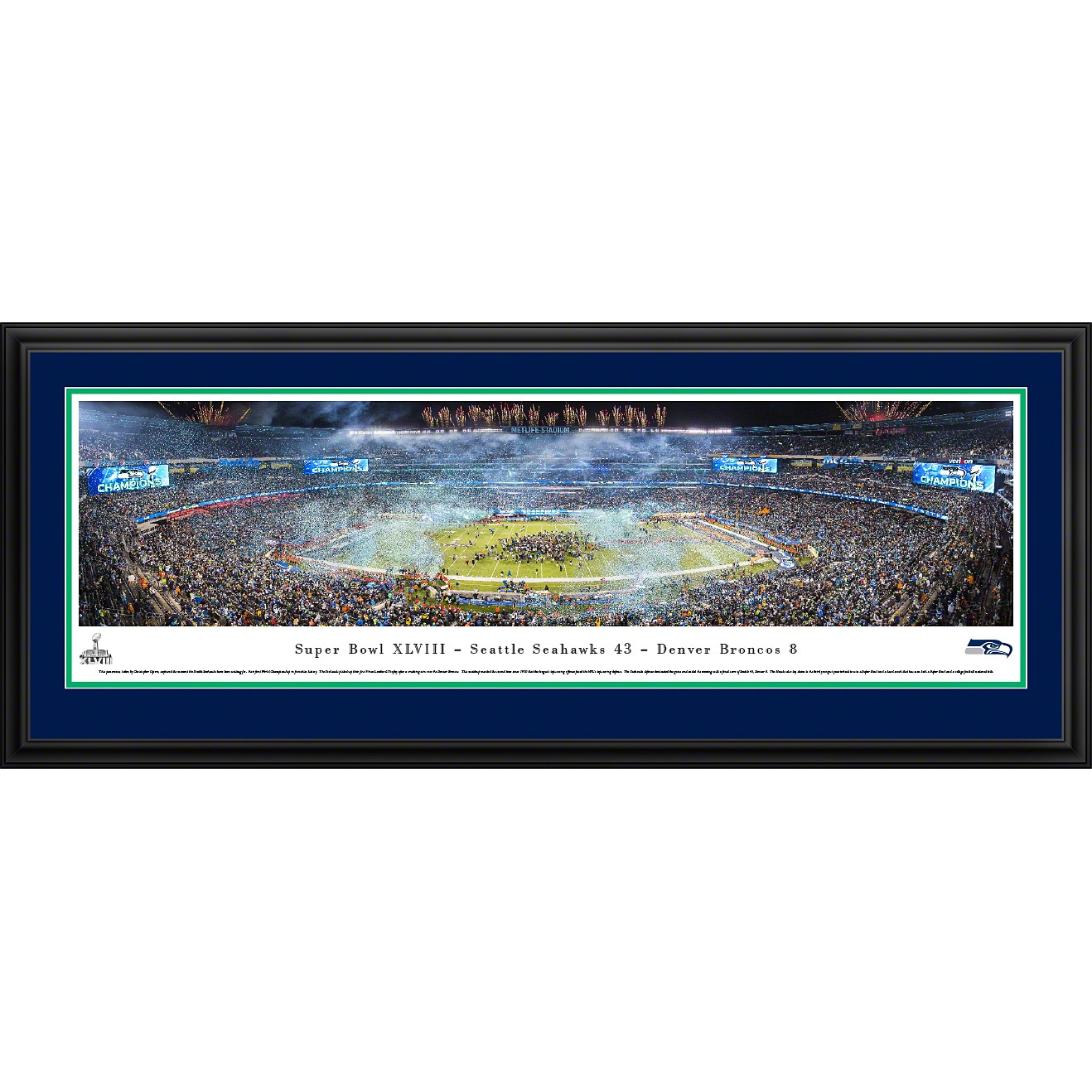 "Seattle Seahawks 18"" x 44"" Deluxe Frame Panoramic Photo"