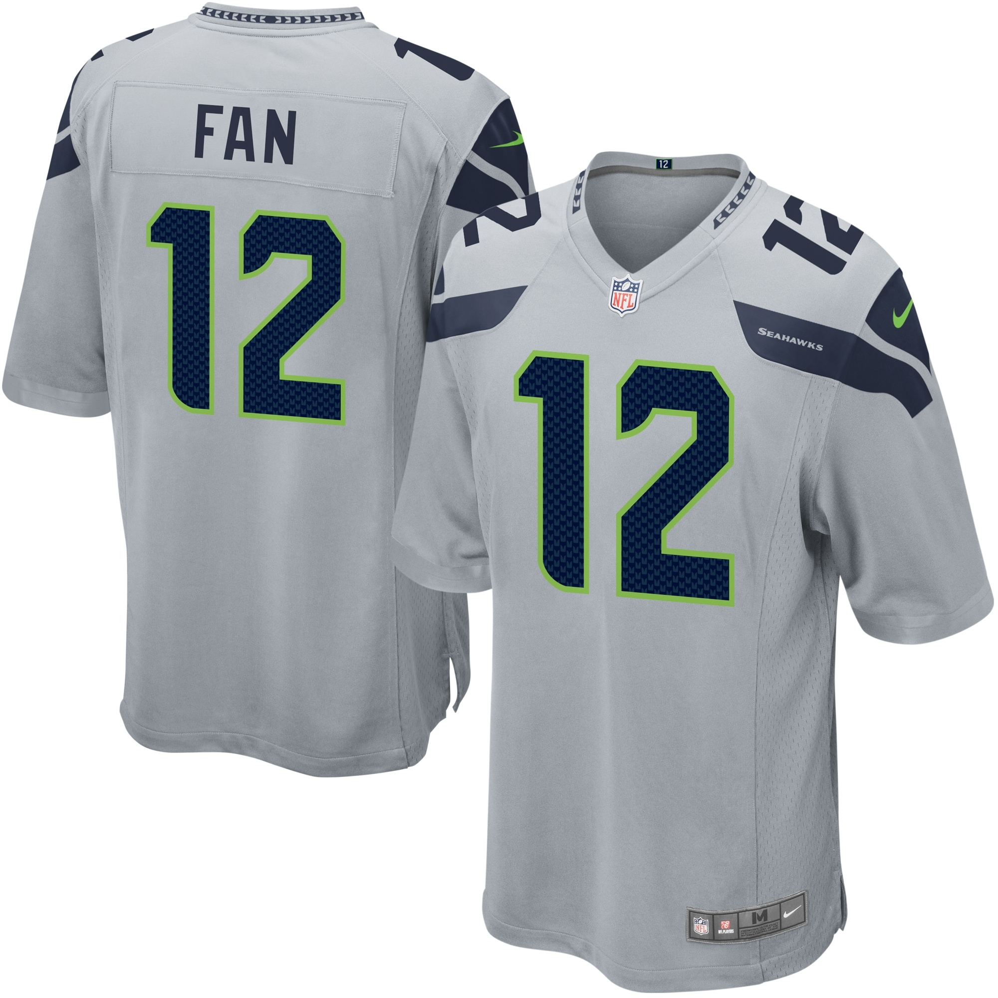 12s Seattle Seahawks Nike Alternate Game Jersey - Gray