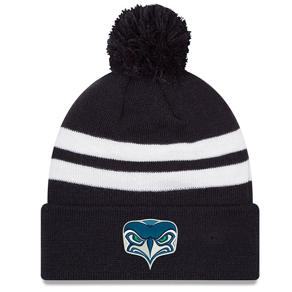 Seattle Seahawks New Era Alternate Team Logo Gear Two-Tone Striped Knit Hat - Navy