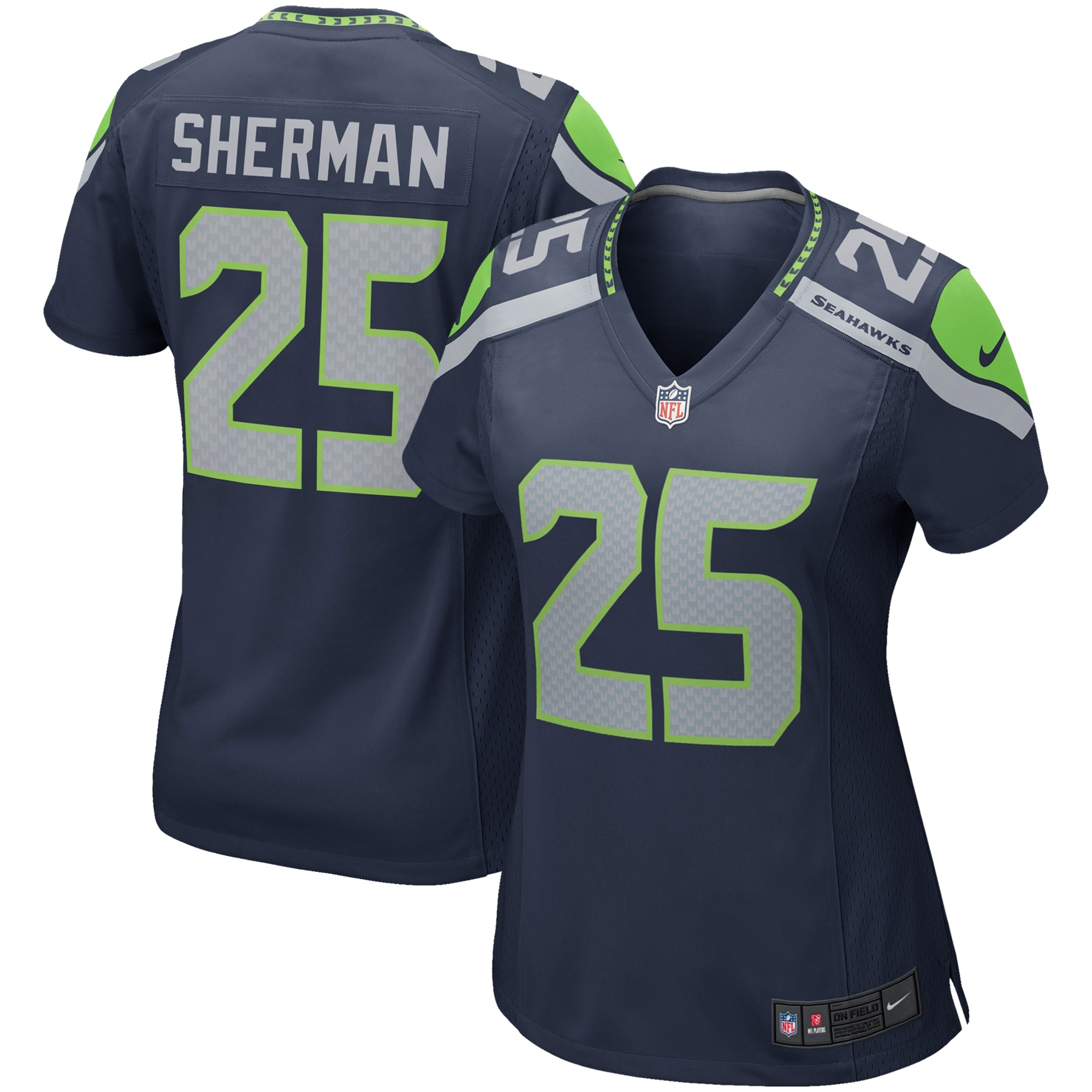 Richard Sherman Seattle Seahawks Nike Girls Youth Replica Game Jersey - College Navy