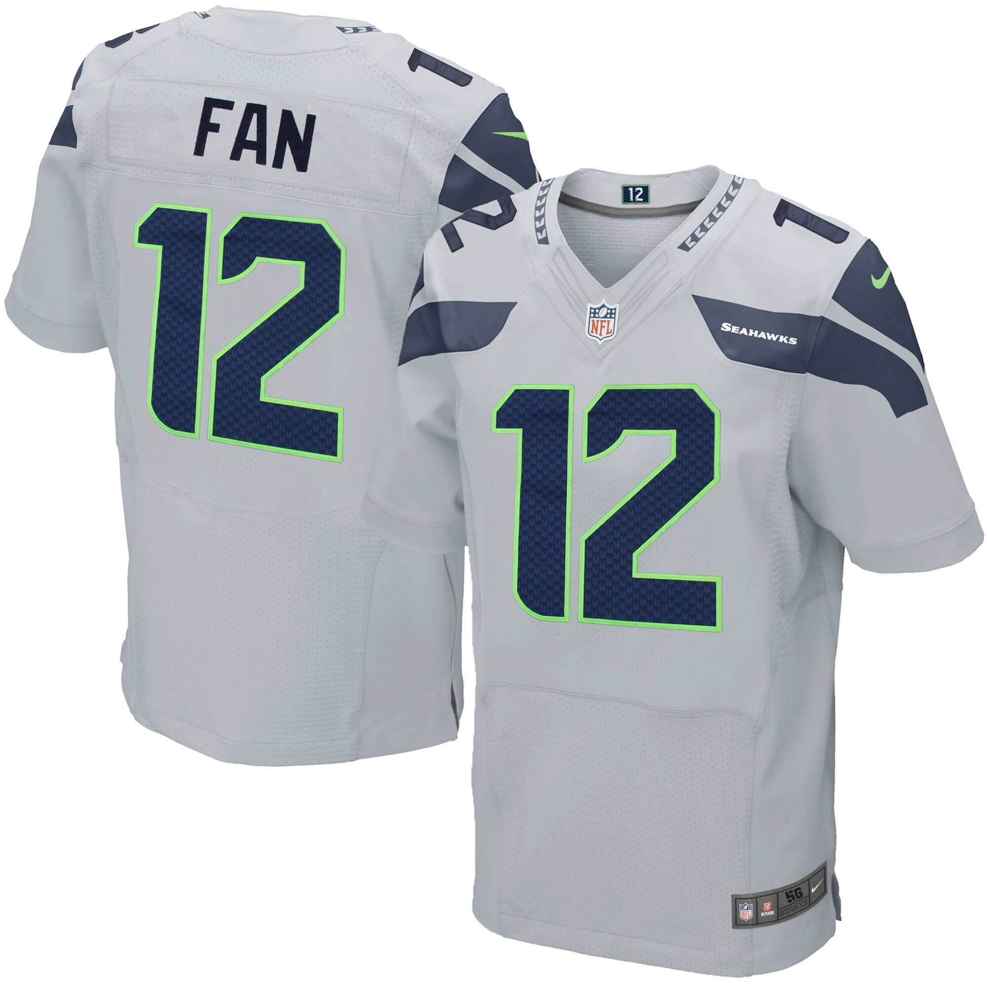 12s Seattle Seahawks Nike Elite Jersey - Gray