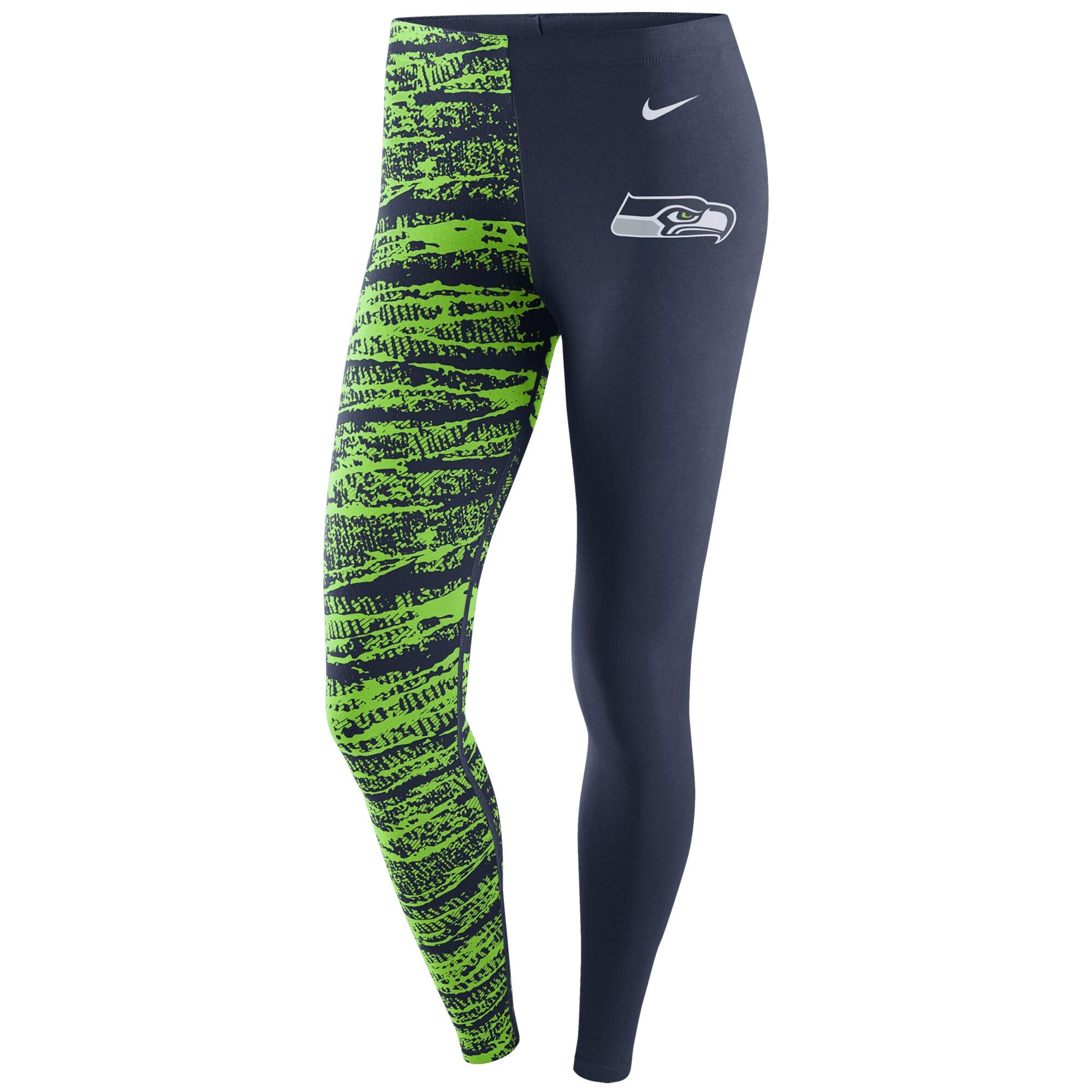 Seattle Seahawks Nike Women's Leg-A-See Leggings - College Navy/Neon Green