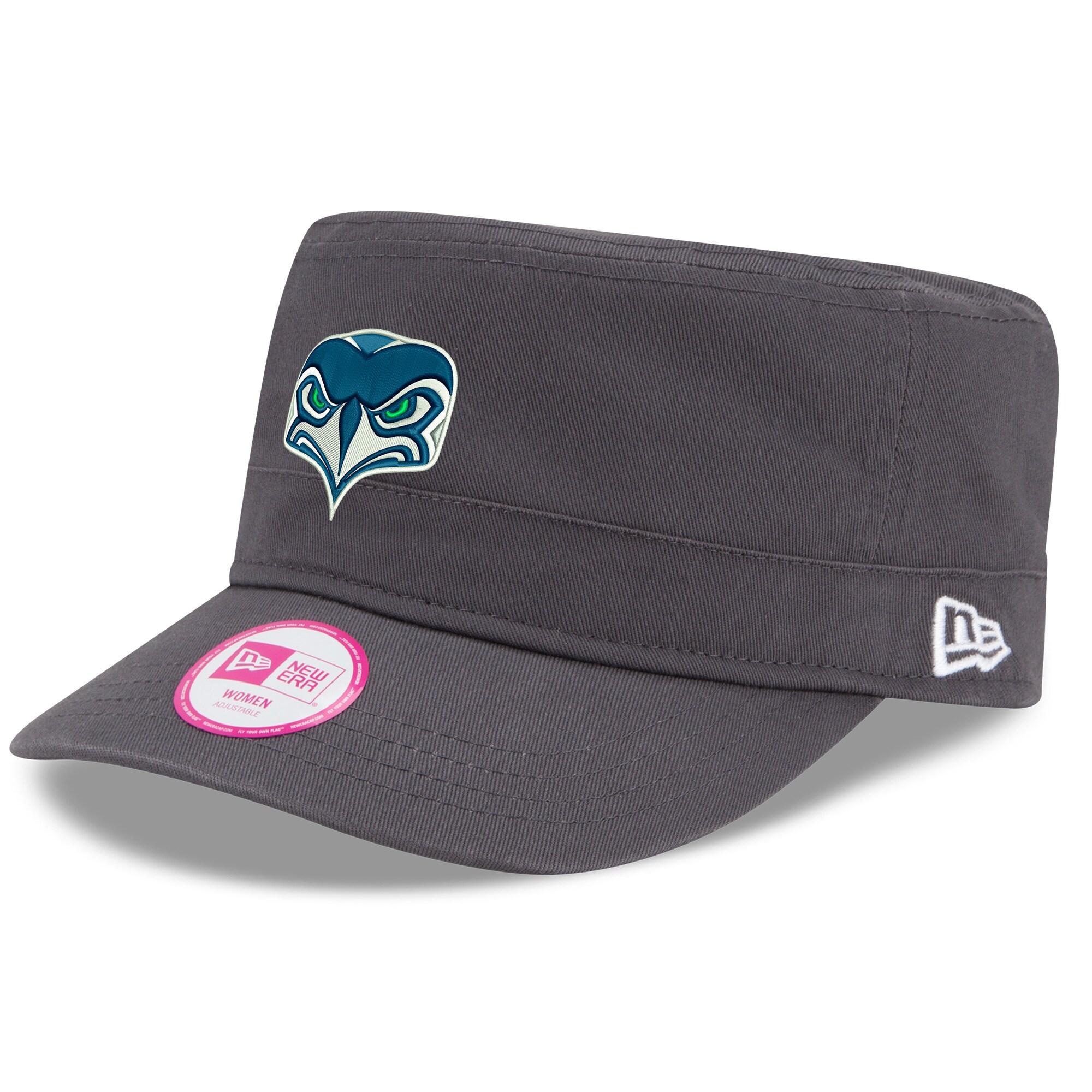 Seattle Seahawks New Era Women's Alternate Team Logo Gear Military Adjustable Hat - Graphite