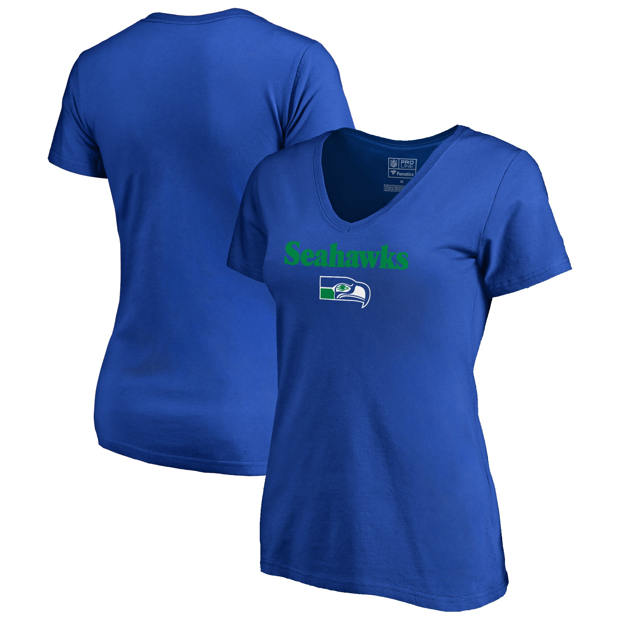 Seattle Seahawks NFL Pro Line by Fanatics Branded Women's Vintage Team Lockup V-Neck T-Shirt - Royal