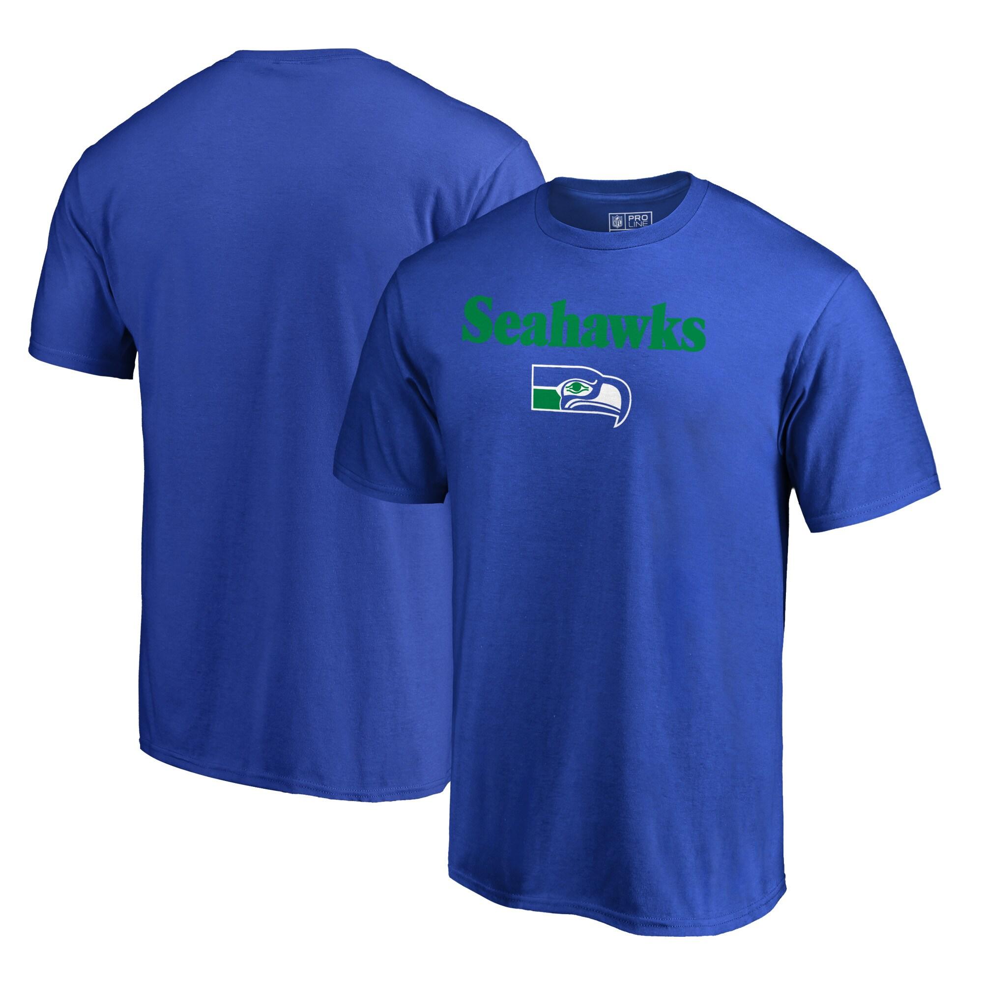 Seattle Seahawks NFL Pro Line by Fanatics Branded Vintage Team Lockup Big & Tall T-Shirt - Blue