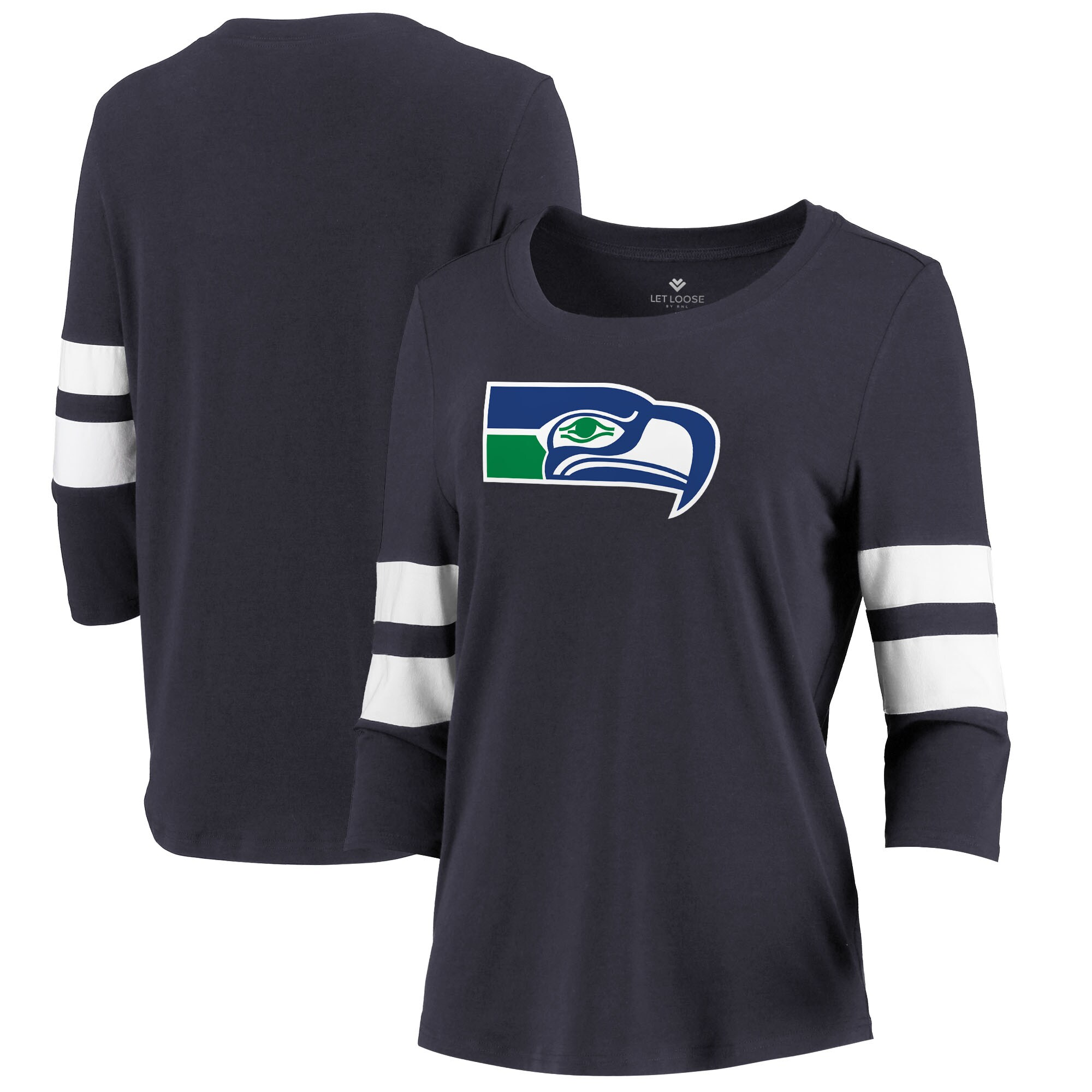 Seattle Seahawks Let Loose by RNL Women's Team Logo Stripe Tri-Blend 3/4 Sleeve T-Shirt - College Navy