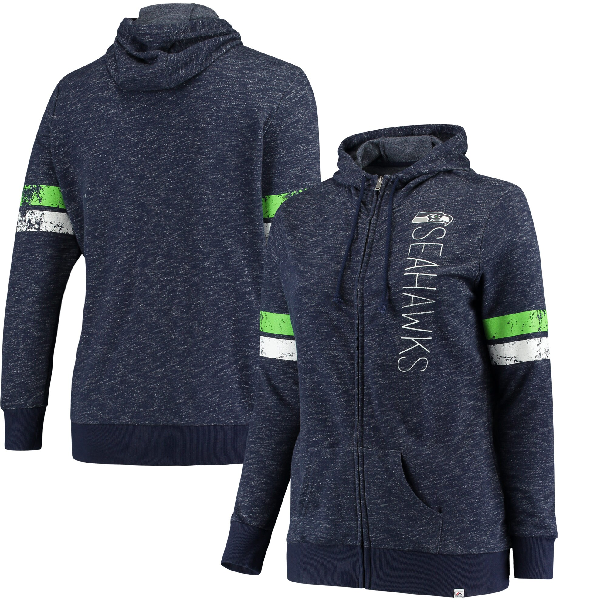 Seattle Seahawks Majestic Women's Athletic Tradition Full-Zip Hoodie - Heathered College Navy