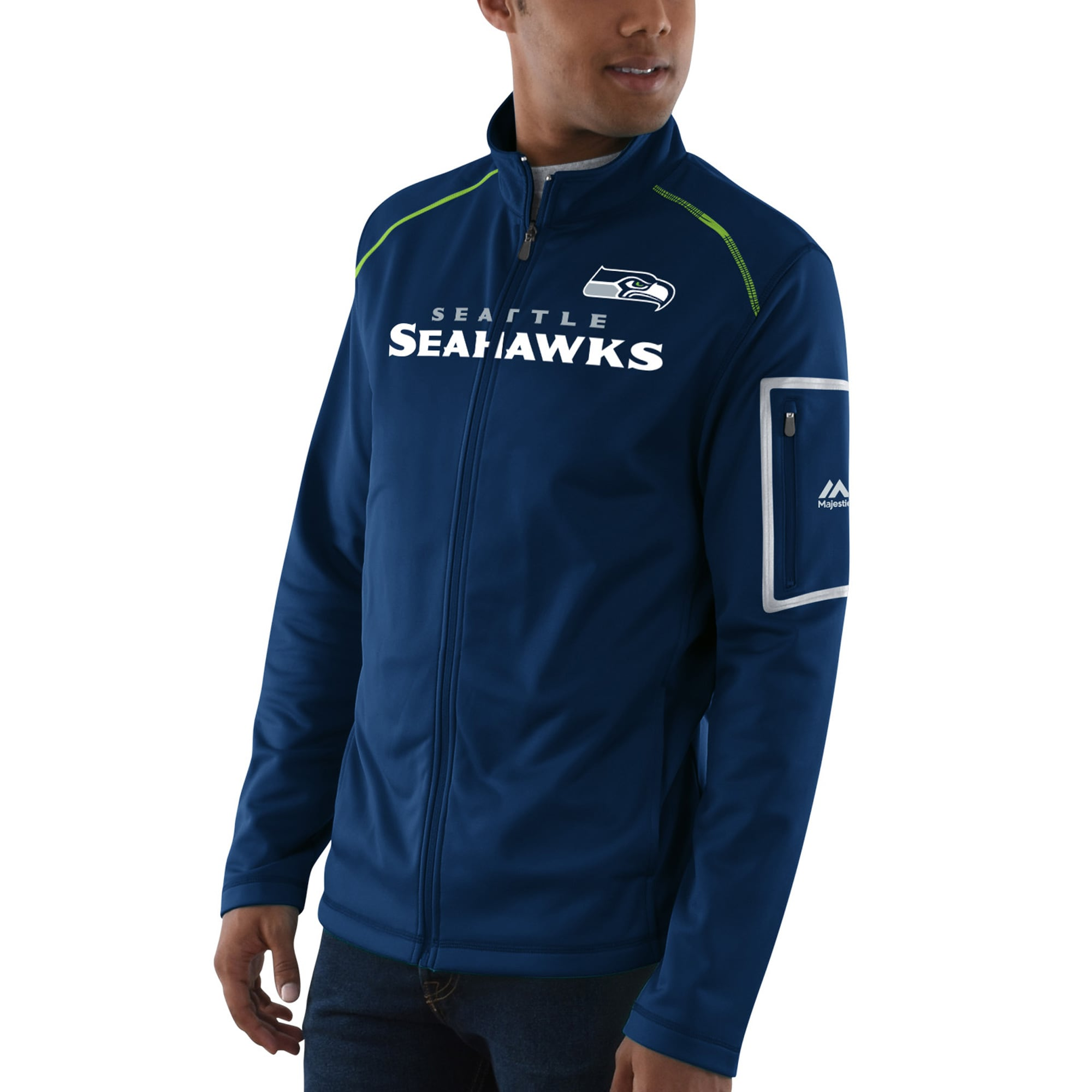 Seattle Seahawks Majestic Team Tech Track Jacket - College Navy