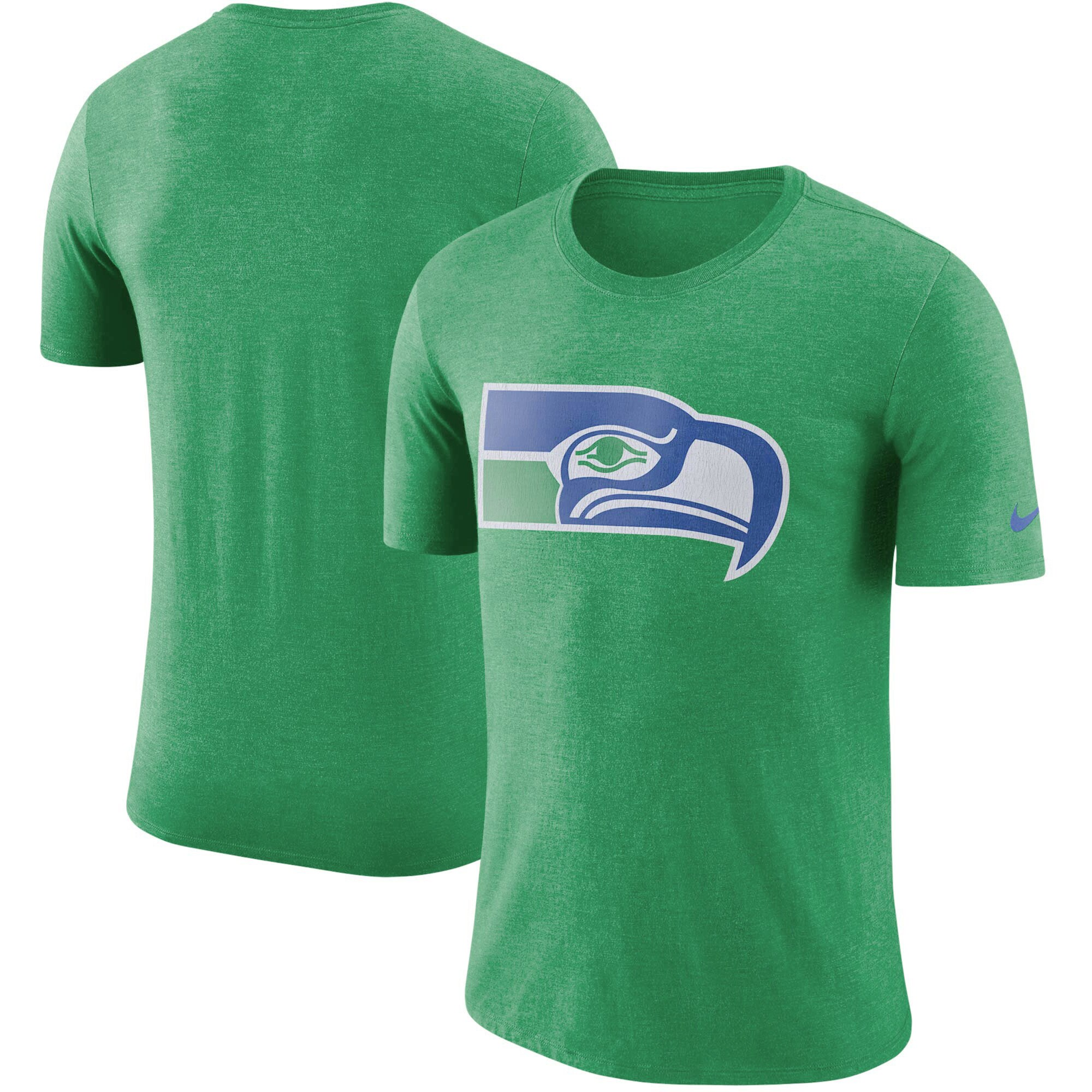 Seattle Seahawks Nike Historic Tri-Blend Crackle T-Shirt - Heathered Kelly Green