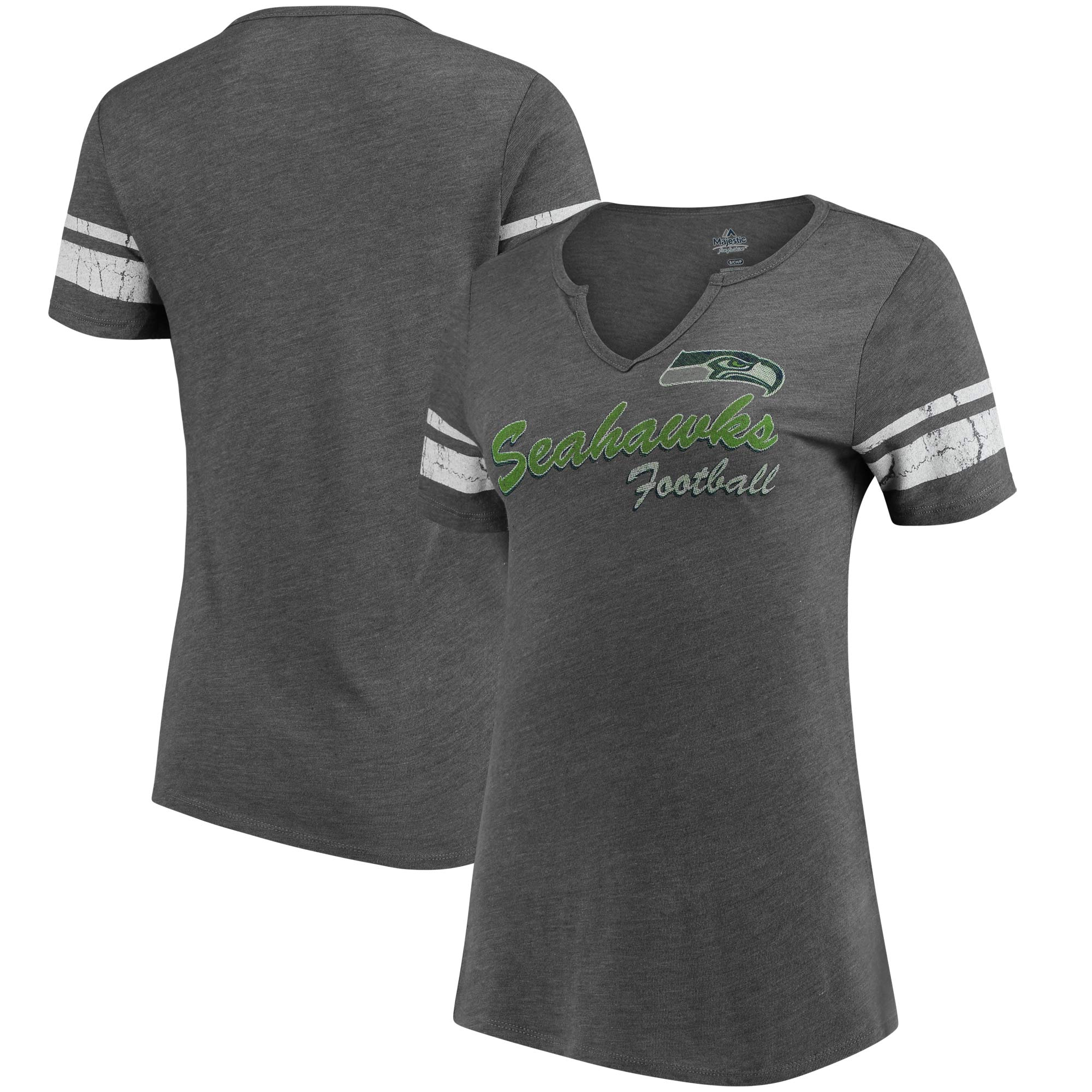 Seattle Seahawks Majestic Women's Game Tradition Tri-Blend V-Neck T-Shirt - Heathered Gray