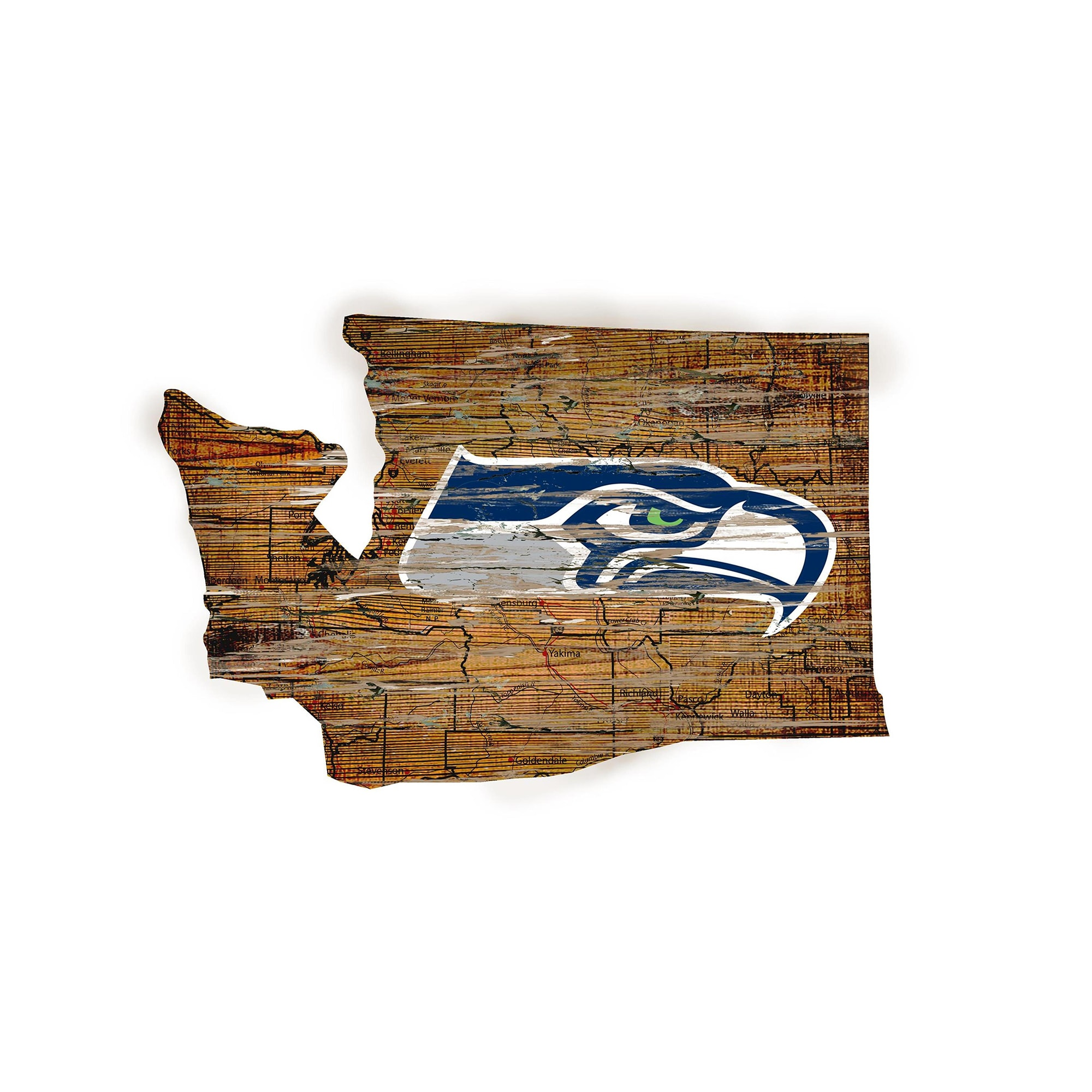 """Seattle Seahawks 23.5"""" x 23.5"""" Distressed State with Logo Sign"""
