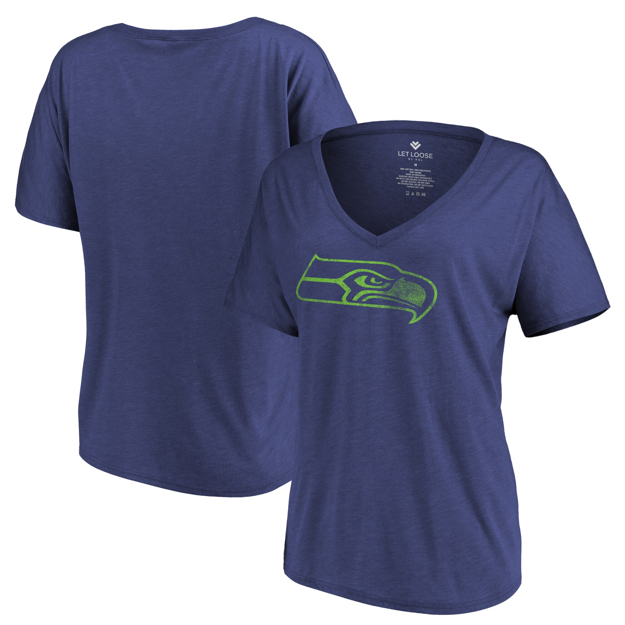 Seattle Seahawks Let Loose by RNL Women's Distressed Primary V-Neck T-Shirt - College Navy