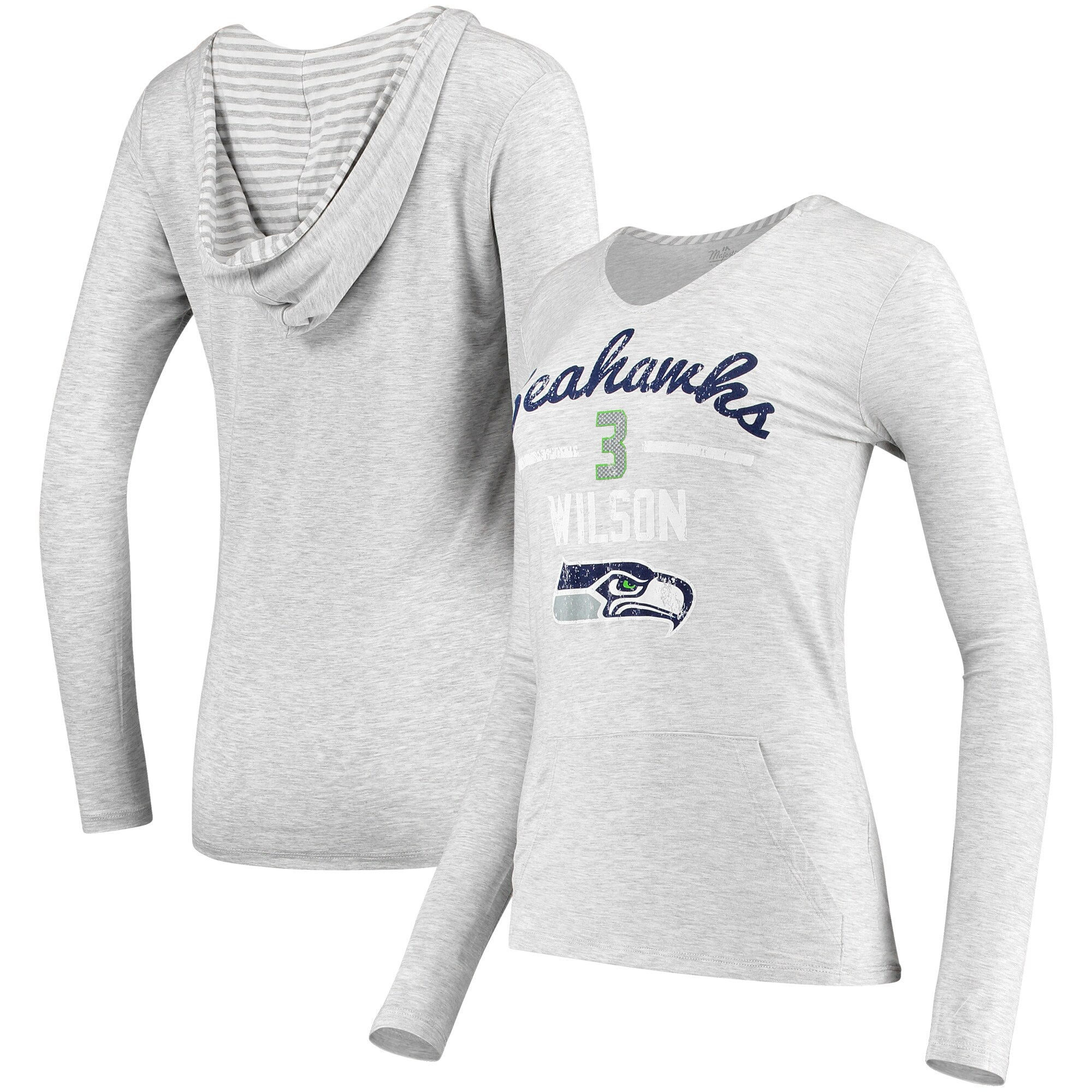 Russell Wilson Seattle Seahawks Women's Pocket Name & Number Hoodie T-Shirt - Gray