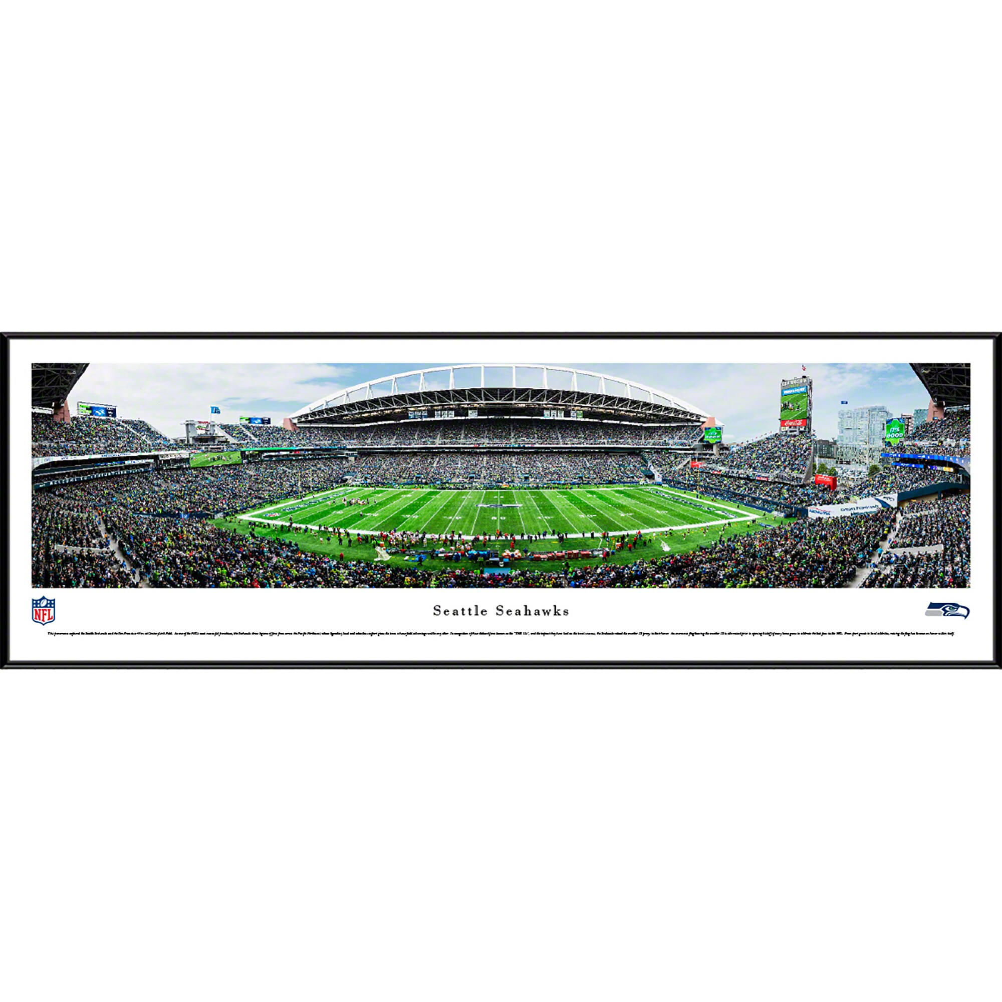 "Seattle Seahawks 40.25"" x 13.75"" 50-Yard Line Standard Framed Panoramic"