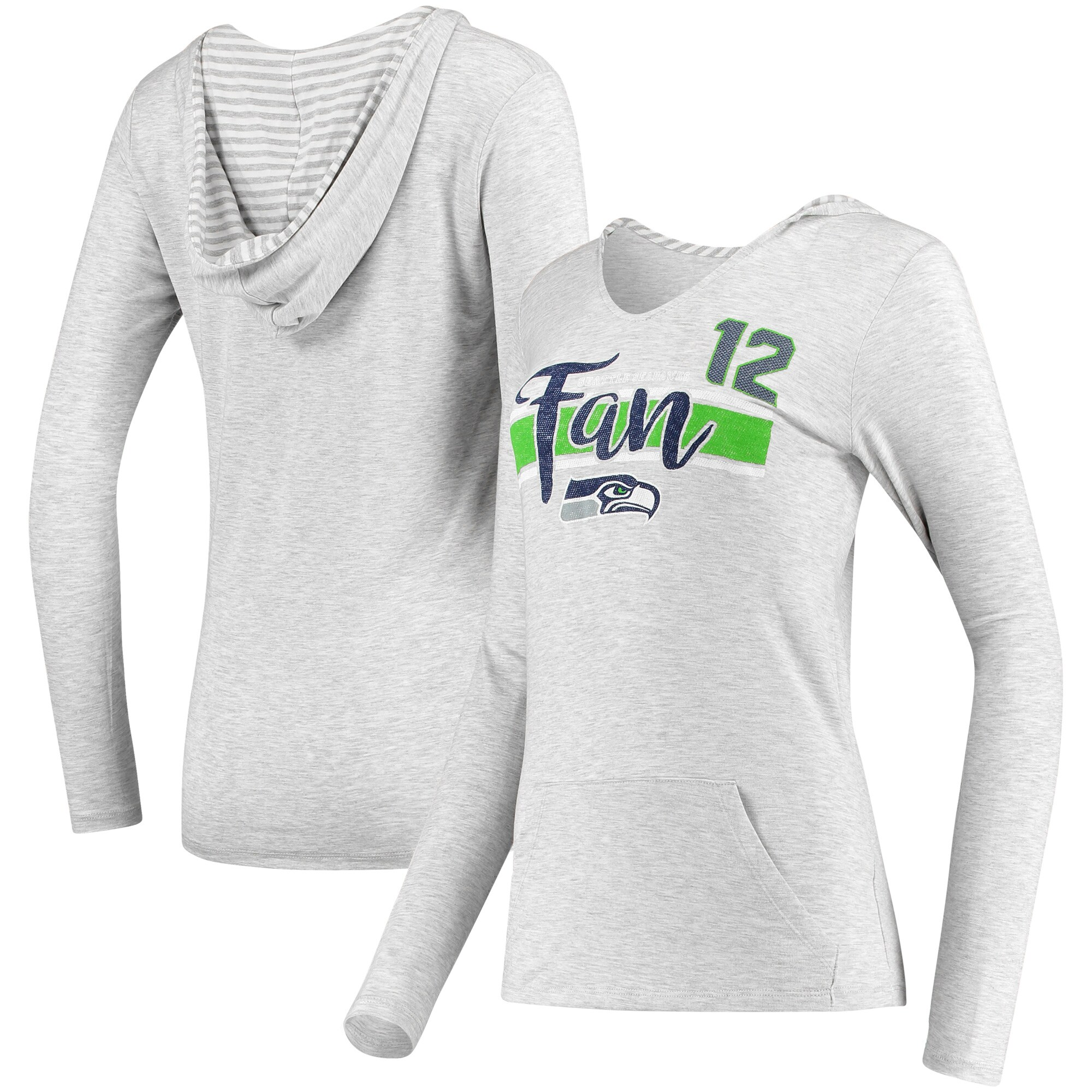 12s Women's Seattle Seahawks Pocket Name & Number Hoodie T-Shirt - Gray