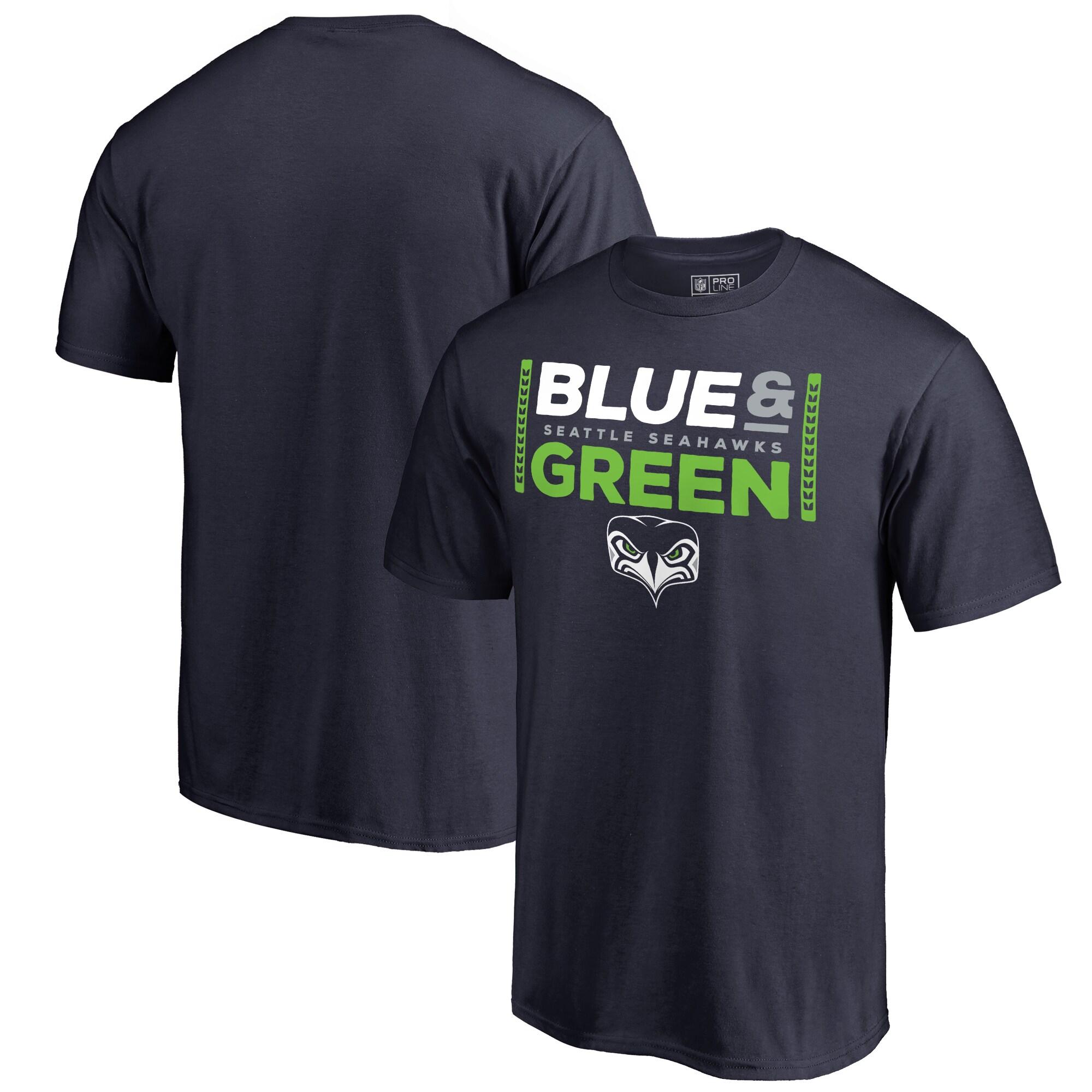 Seattle Seahawks NFL Pro Line by Fanatics Branded Alternate Team Logo Gear Blue & Green T-Shirt - College Navy