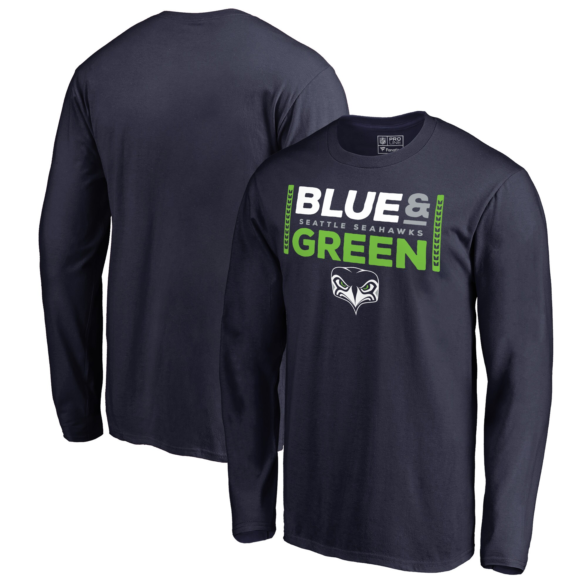 Seattle Seahawks NFL Pro Line by Fanatics Branded Alternate Team Logo Gear Blue & Green Big & Tall Long Sleeve T-Shirt - College Navy