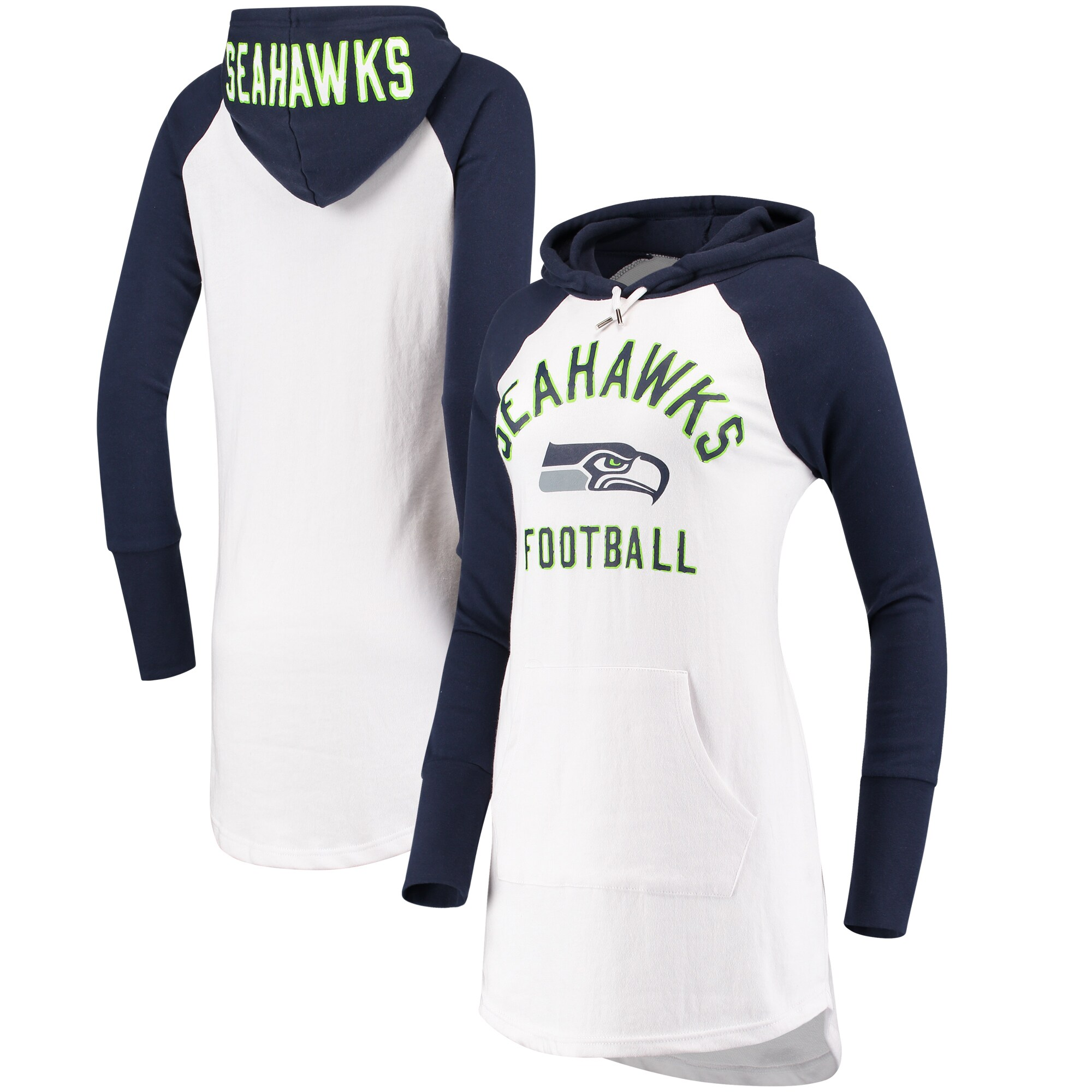 Seattle Seahawks G-III 4Her by Carl Banks Women's All Division Raglan Sleeve Pullover Hoodie - White/College Navy