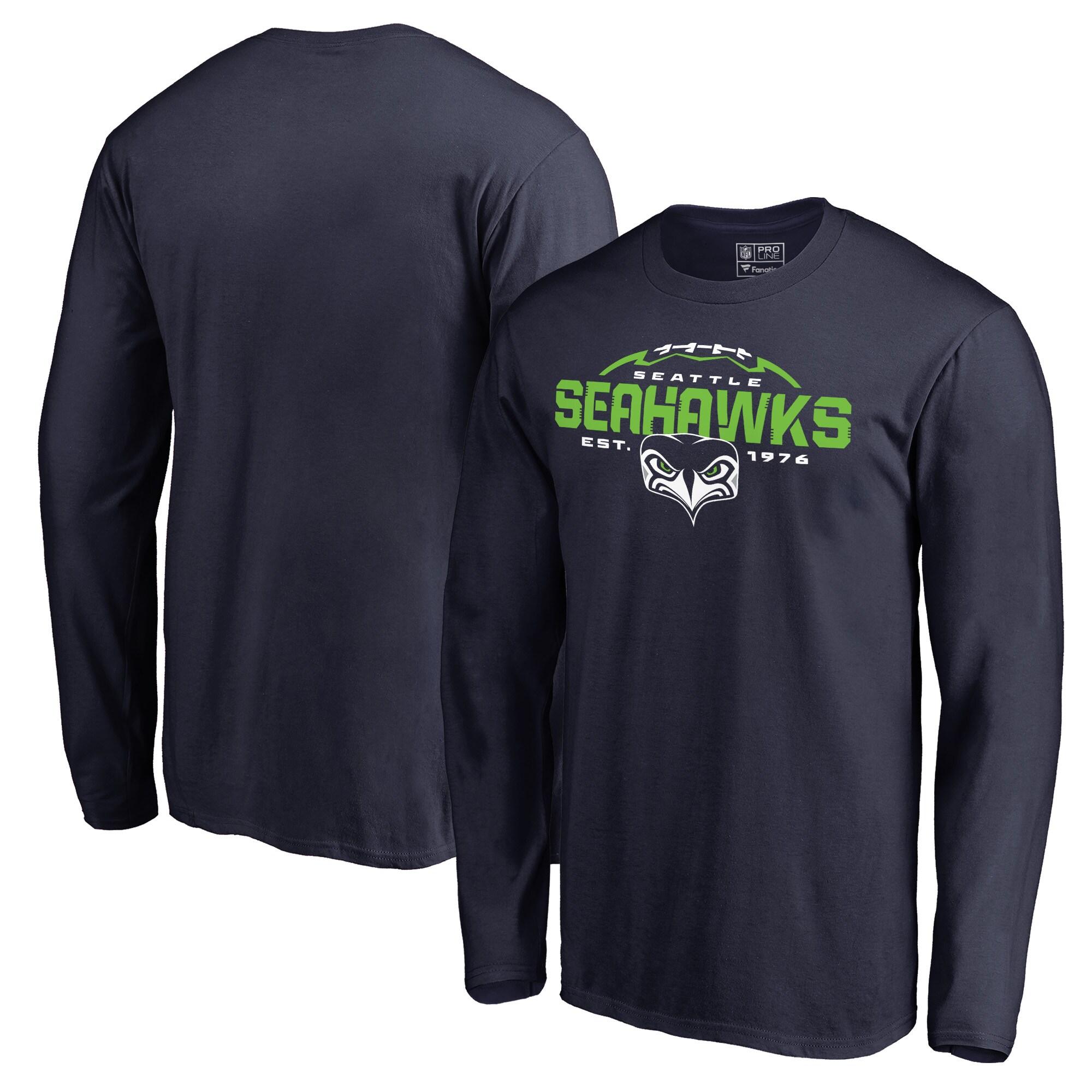 Seattle Seahawks NFL Pro Line by Fanatics Branded Alternate Team Logo Gear Flea Flicker Long Sleeve T-Shirt - College Navy