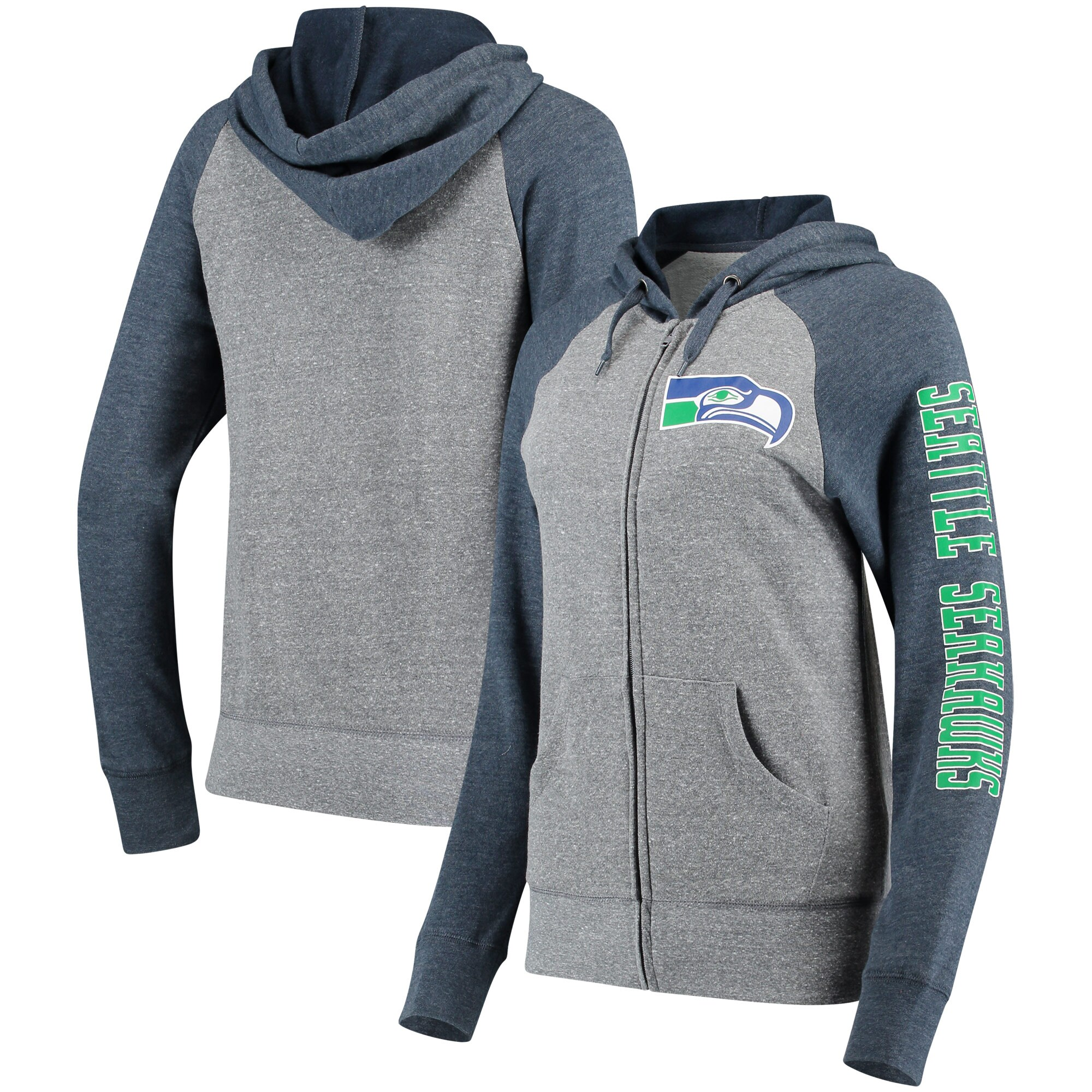 Seattle Seahawks 5th & Ocean by New Era Women's Fleece Tri-Blend Raglan Sleeve Full-Zip Hoodie - Heathered Gray/College Navy