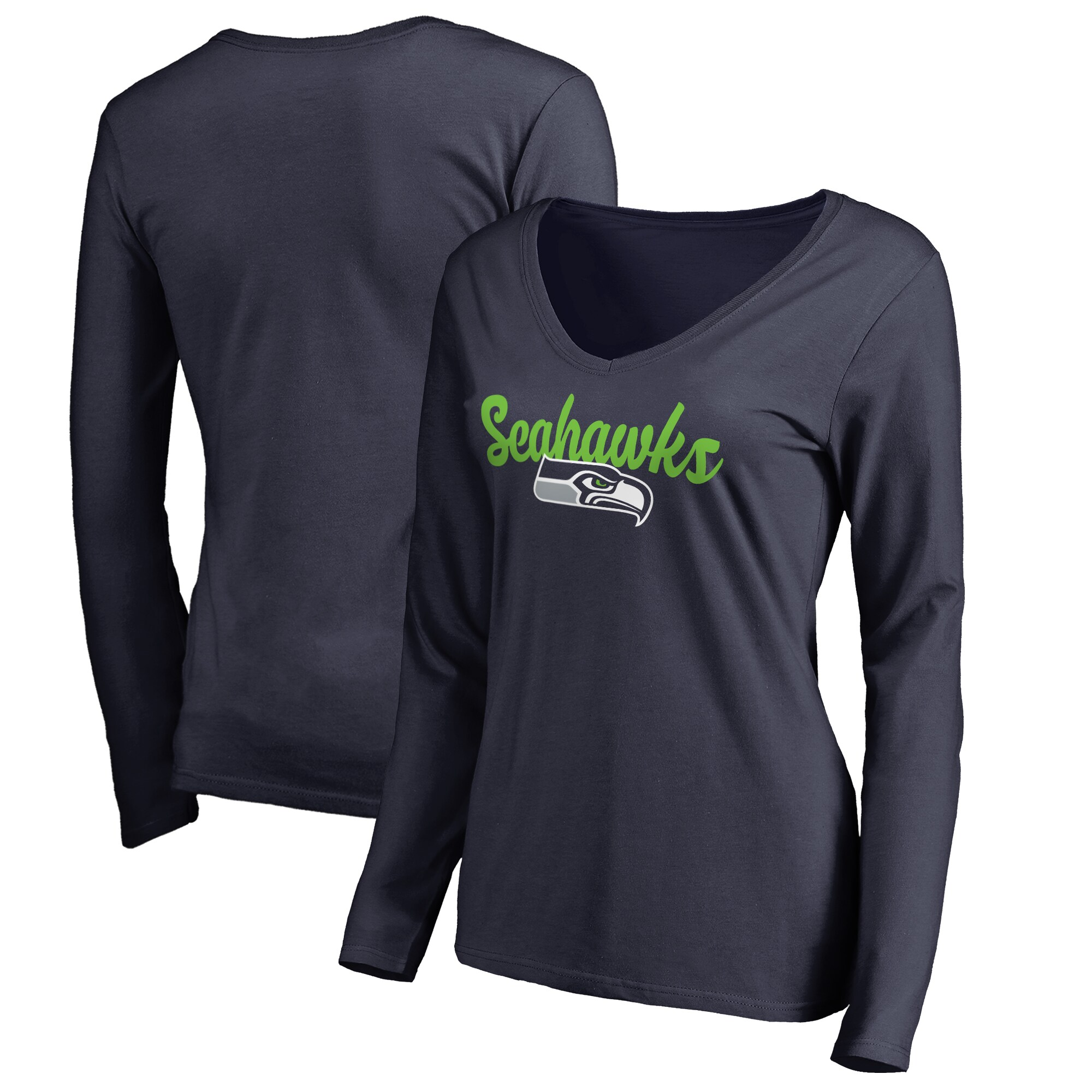 Seattle Seahawks Women's Plus Sizes Freehand Long Sleeve T-Shirt - Navy