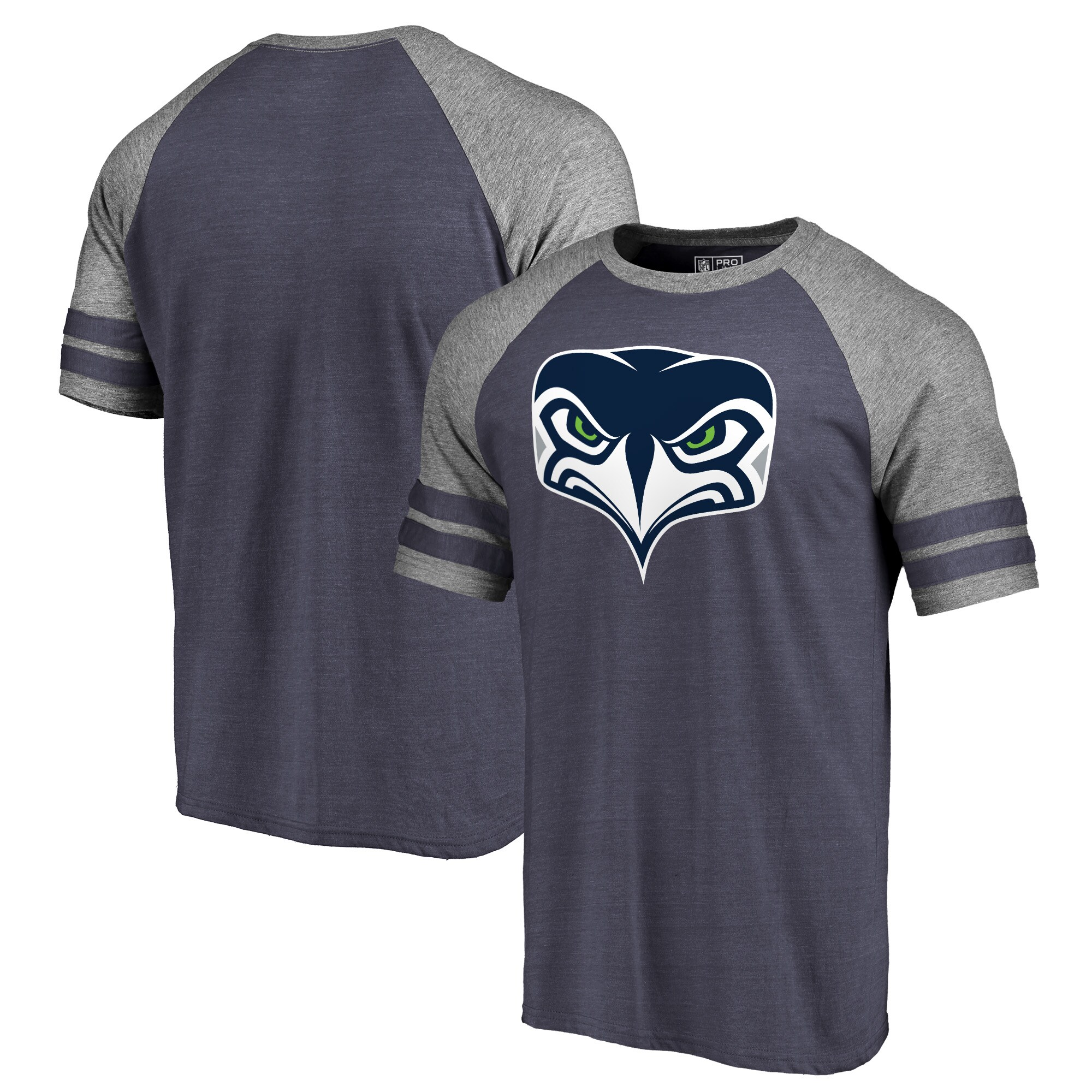 Seattle Seahawks NFL Pro Line by Fanatics Branded Alternate Team Logo Gear Tri-Blend Raglan T-Shirt - Navy