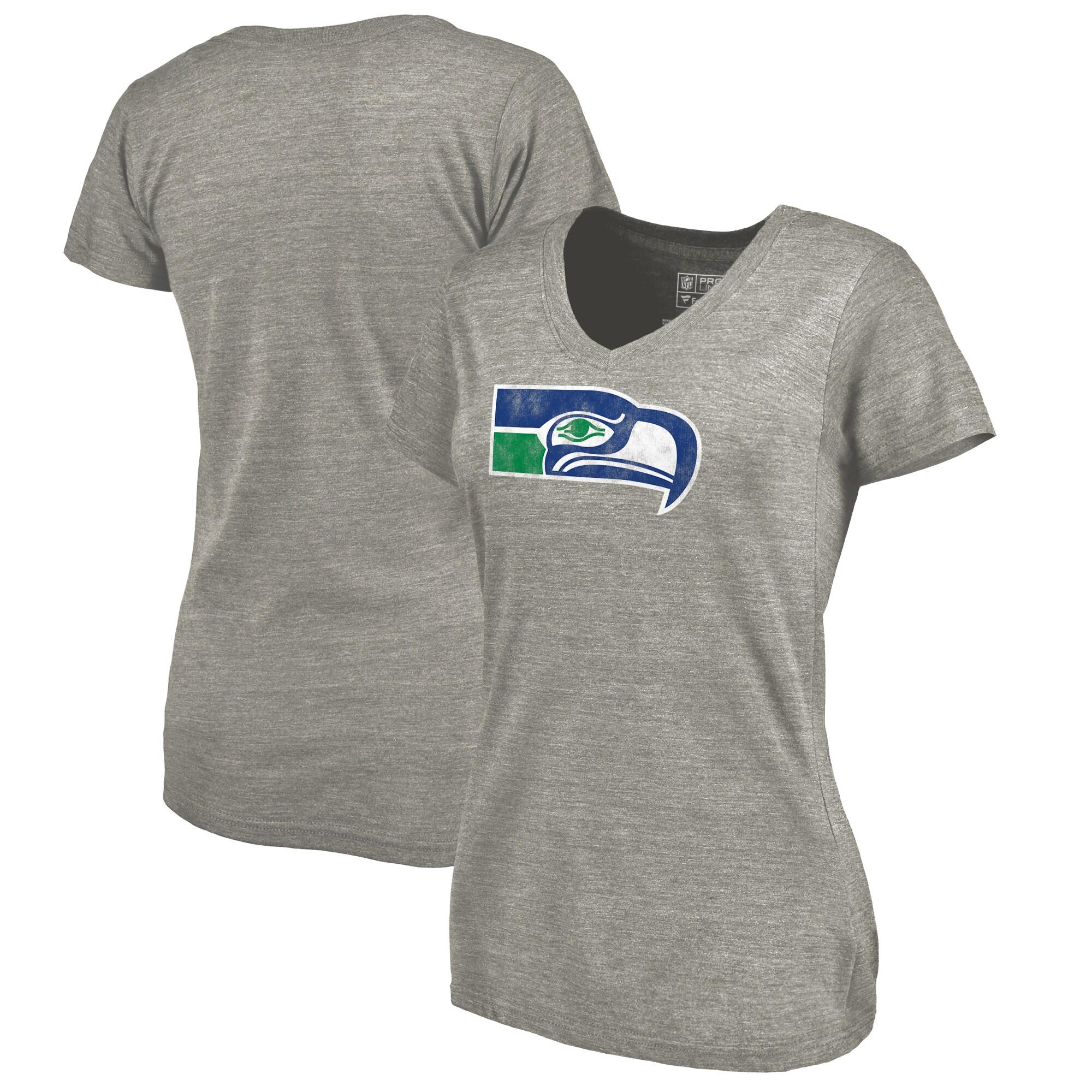Seattle Seahawks NFL Pro Line by Fanatics Branded Women's Throwback Logo Tri-Blend V-Neck T-Shirt - Ash