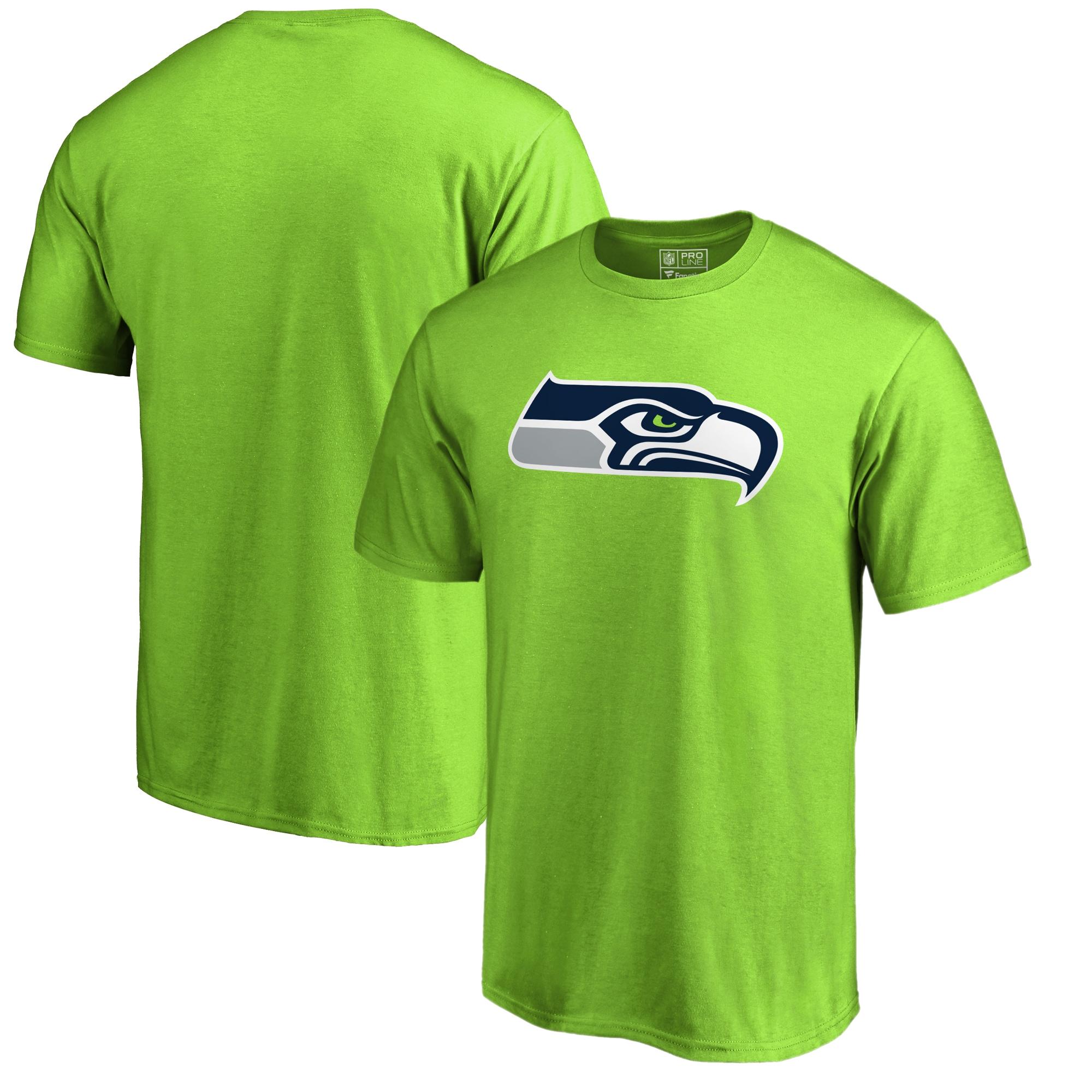 Seattle Seahawks NFL Pro Line by Fanatics Branded Primary Logo T-Shirt - Neon Green