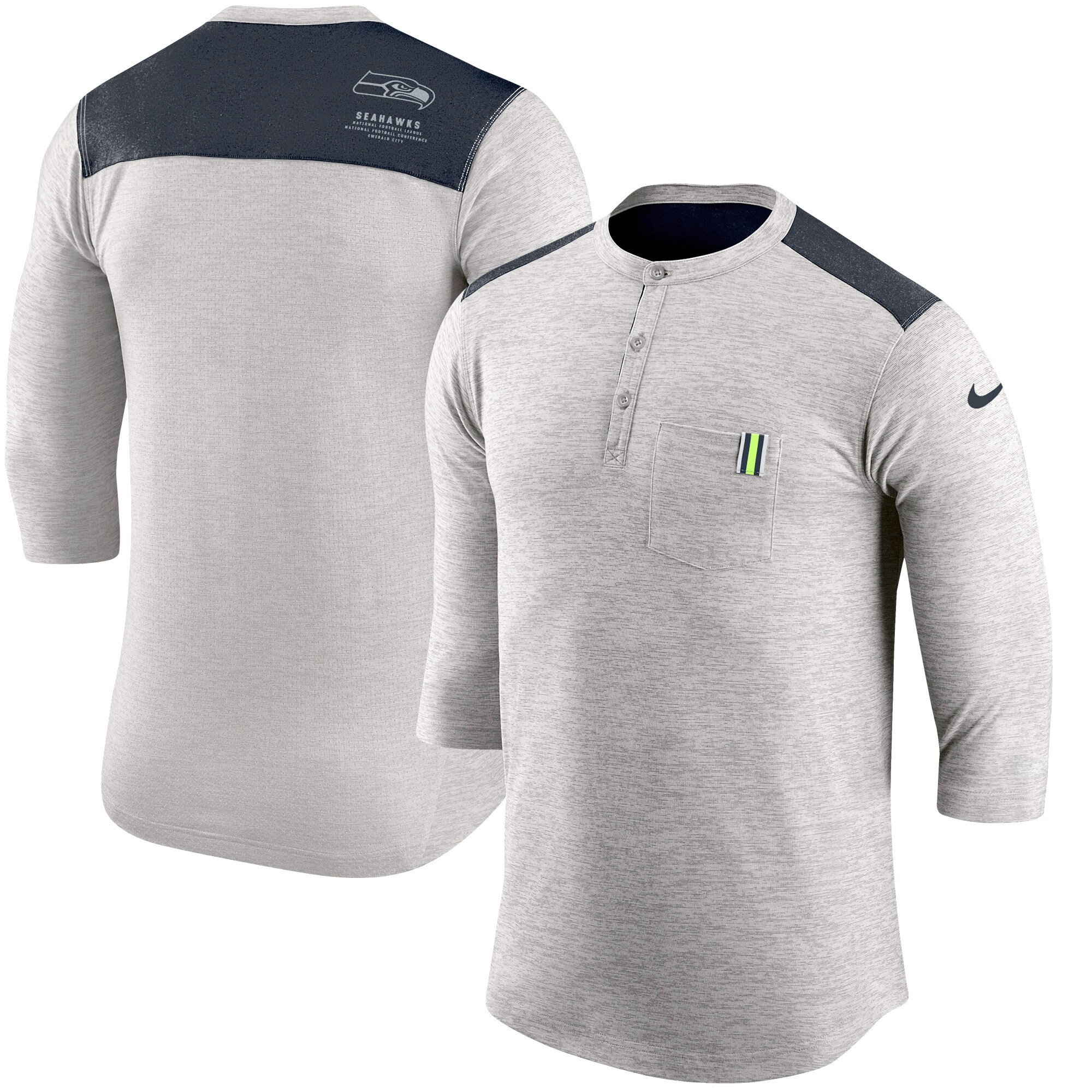 Seattle Seahawks Nike Performance Henley 3/4-Sleeve T-Shirt - Heathered Gray/College Navy
