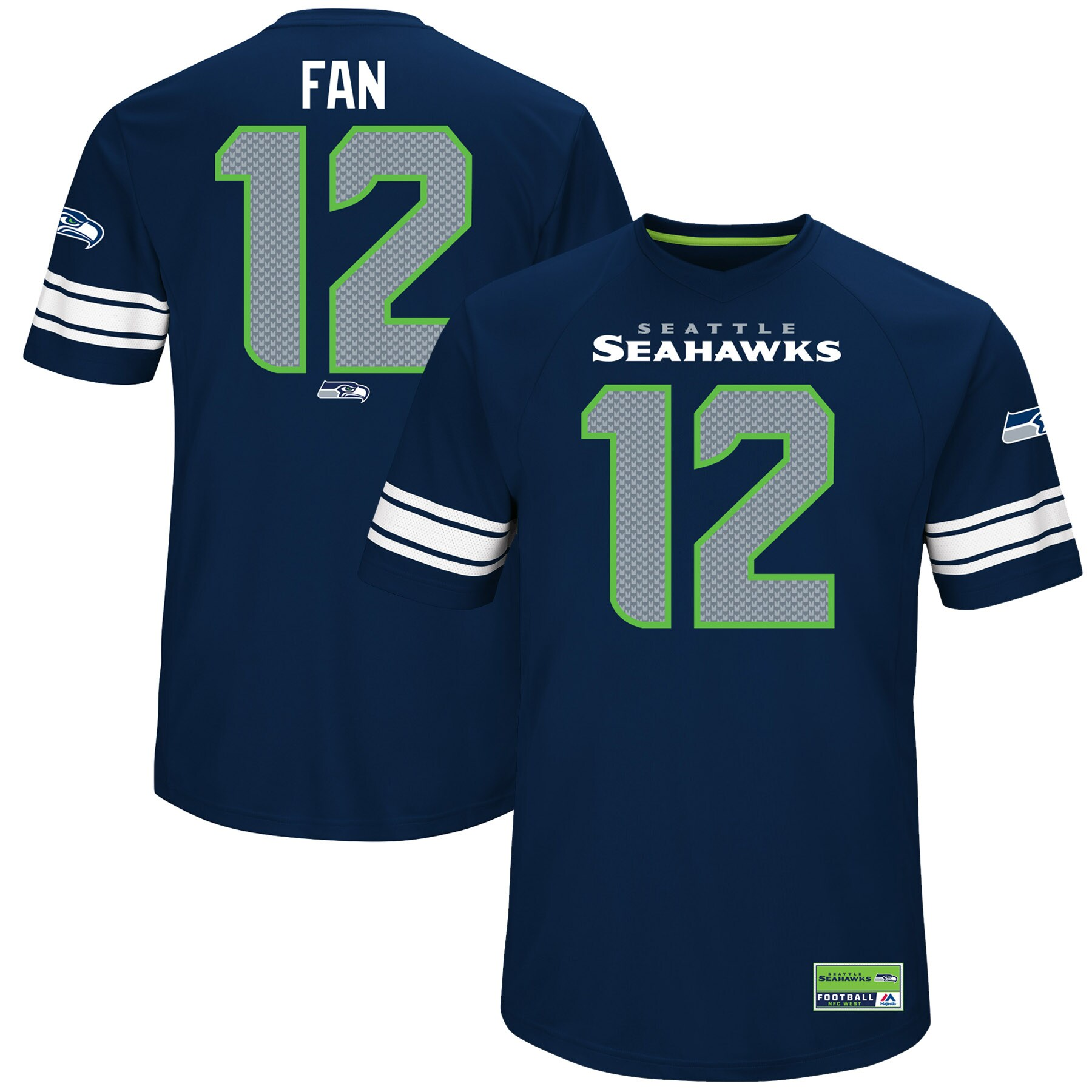 12s Seattle Seahawks Majestic Hashmark Player Name & Number T-Shirt - College Navy