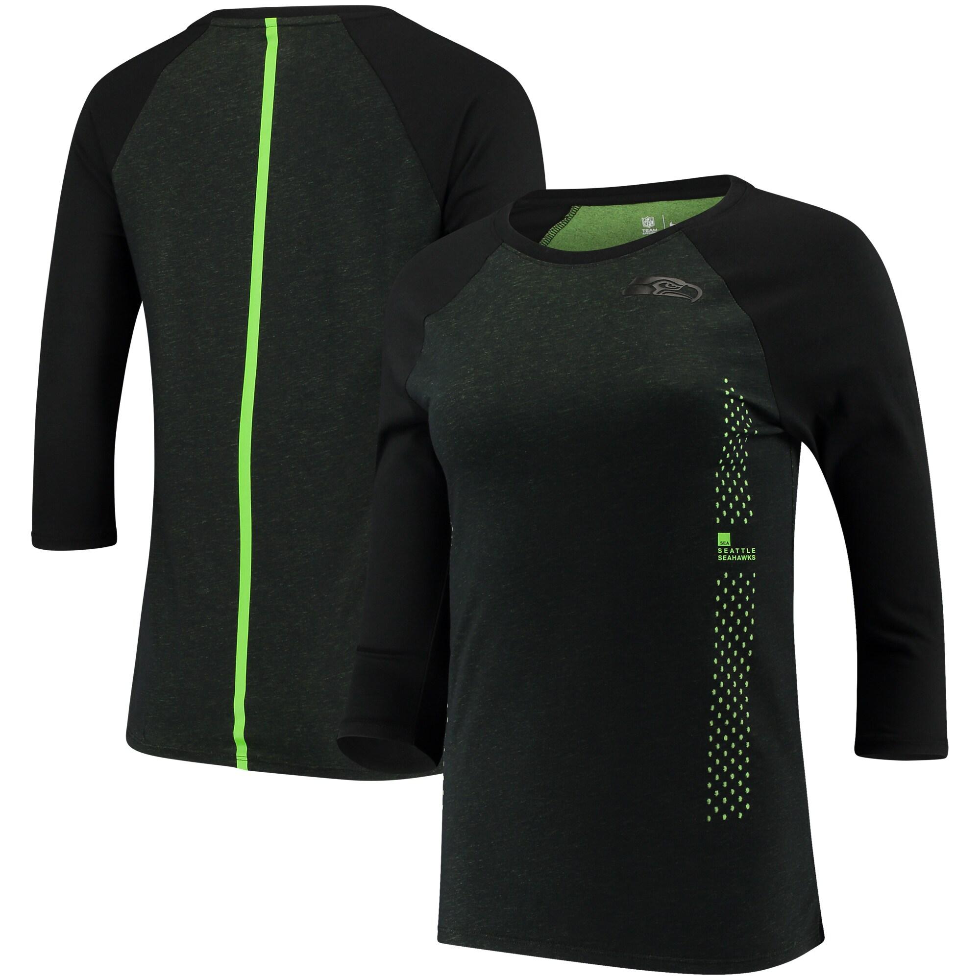 Seattle Seahawks Nike Women's Performance Black Pack 3/4 Sleeve Raglan T-Shirt - Black