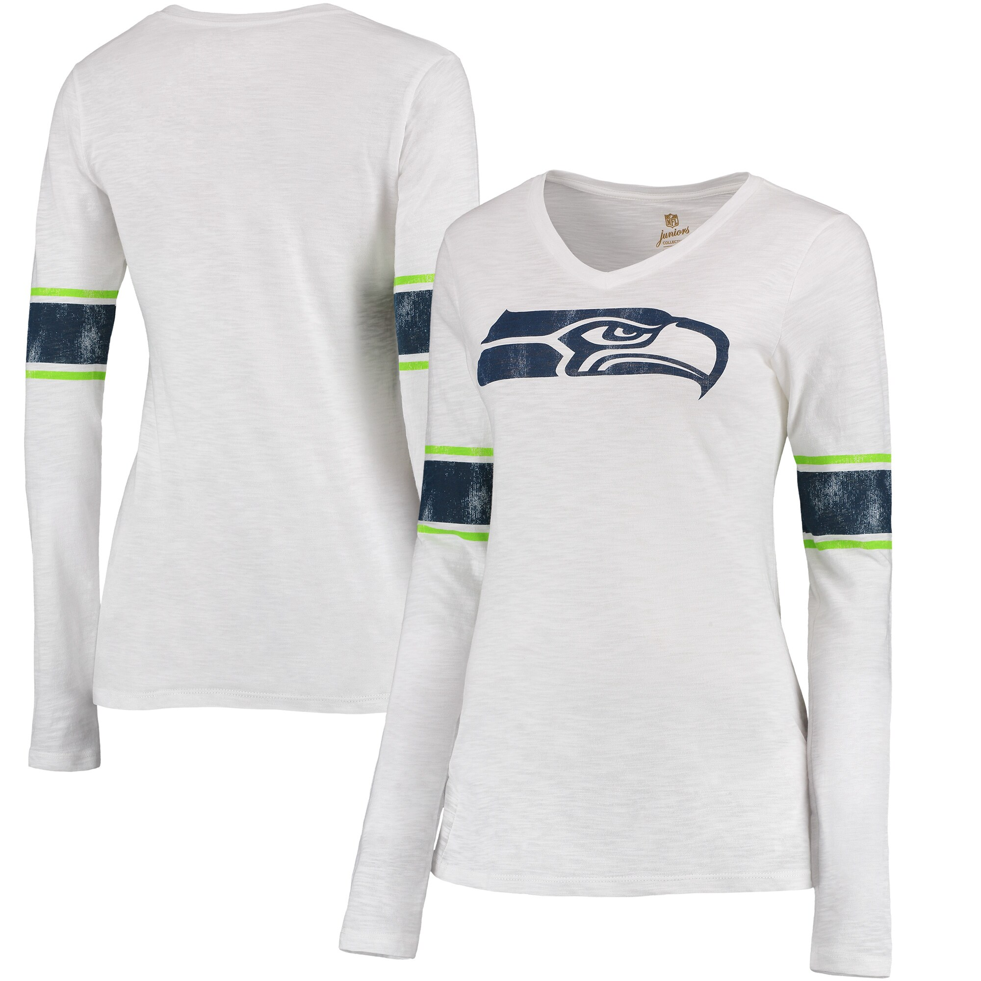 Seattle Seahawks Juniors Team Leader V-Neck Long Sleeve T-Shirt - White
