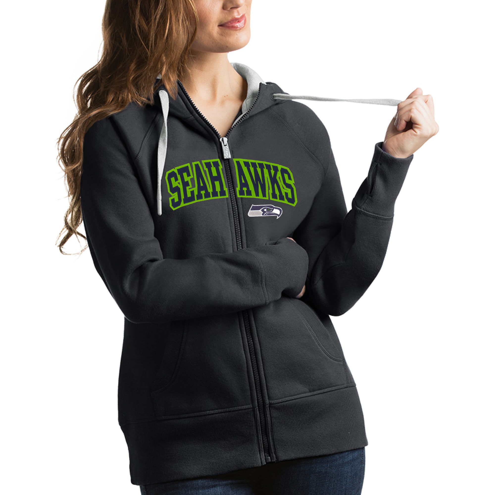 Seattle Seahawks Antigua Women's Victory Full-Zip Hoodie - Charcoal