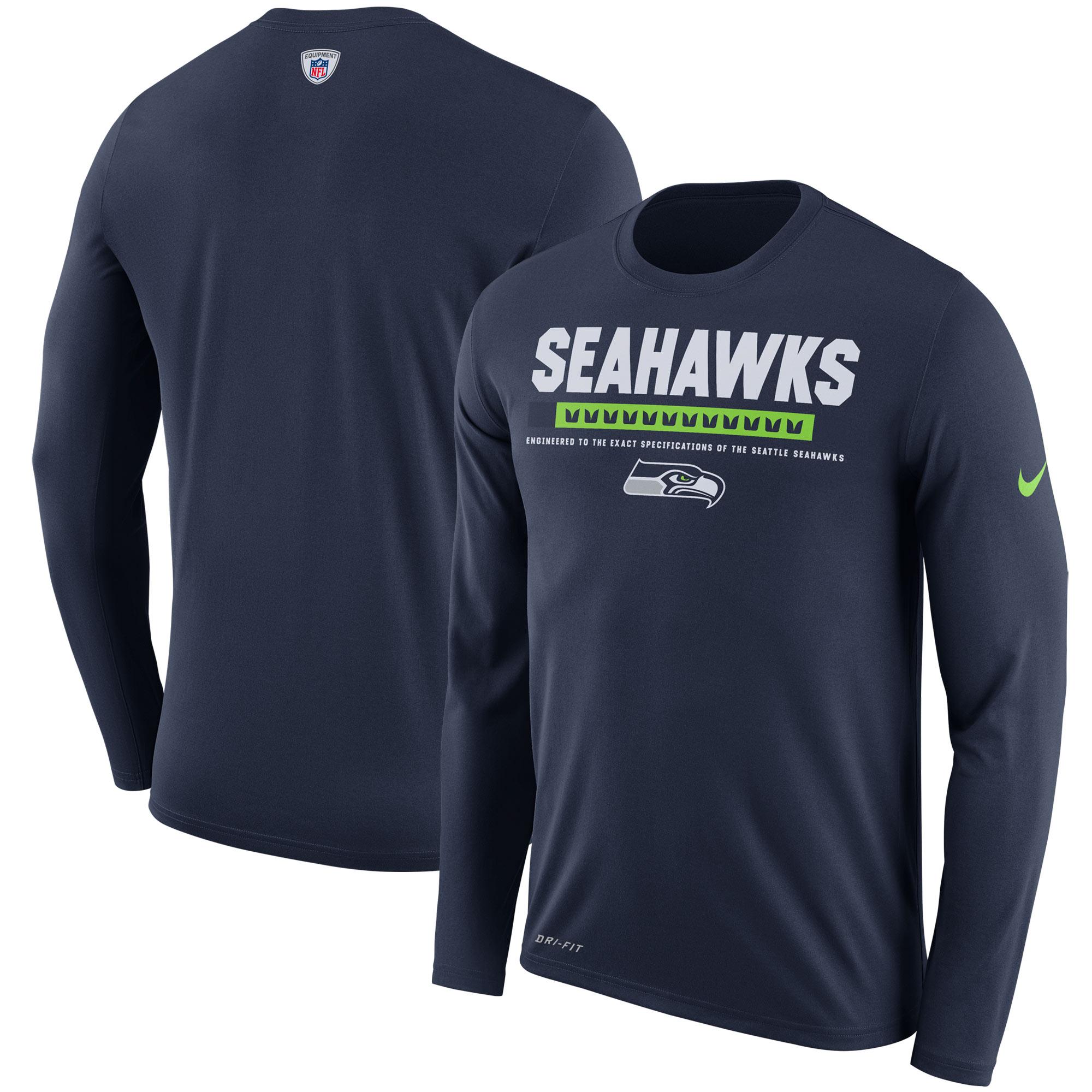 Seattle Seahawks Nike Sideline Legend Staff Performance Long Sleeve T-Shirt - College Navy