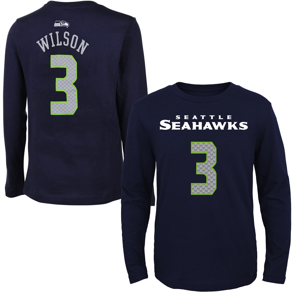 Russell Wilson Seattle Seahawks Youth Primary Gear Name & Number Long Sleeve T-Shirt - College Navy