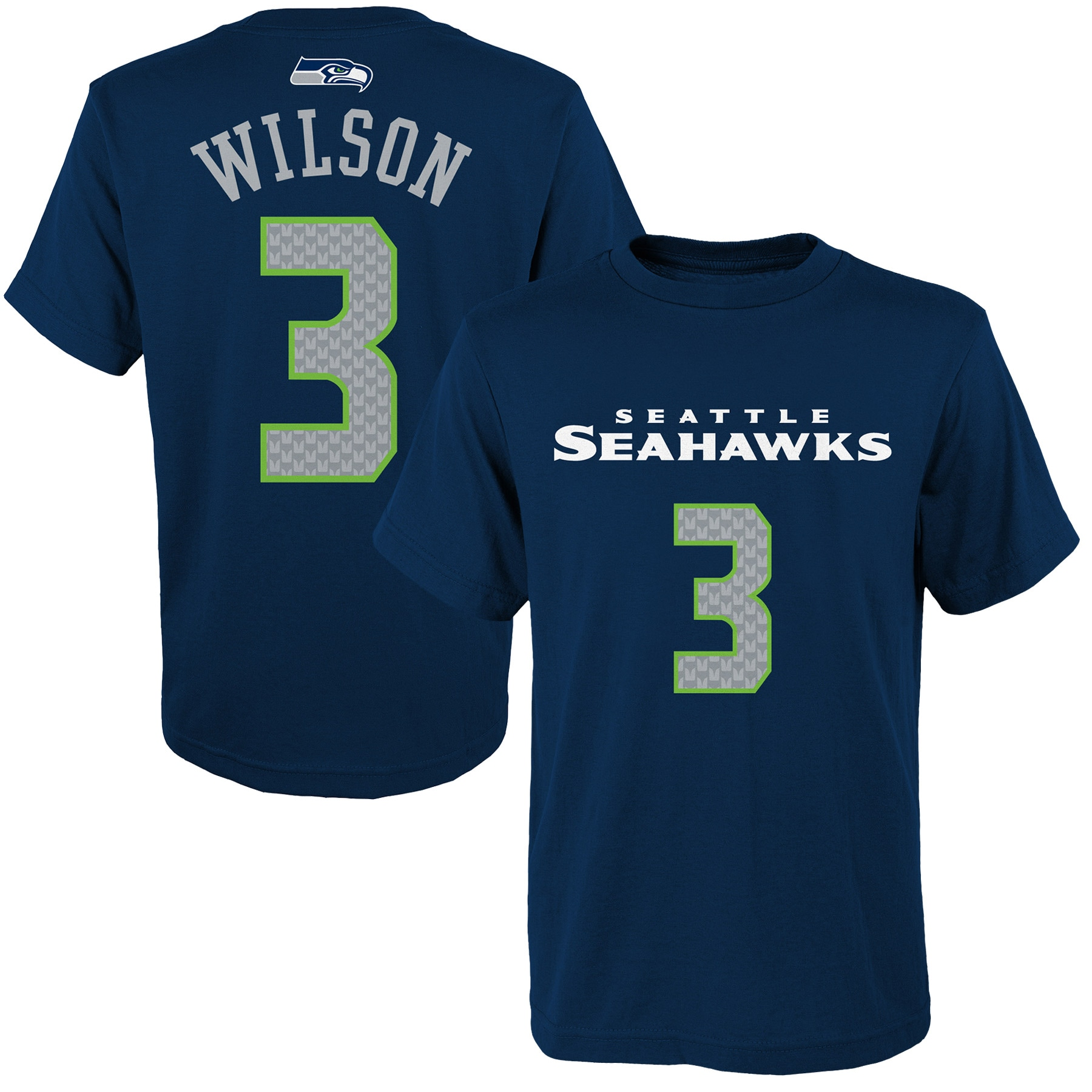 Russell Wilson Seattle Seahawks Youth Mainliner Player Name & Number T-Shirt - Navy